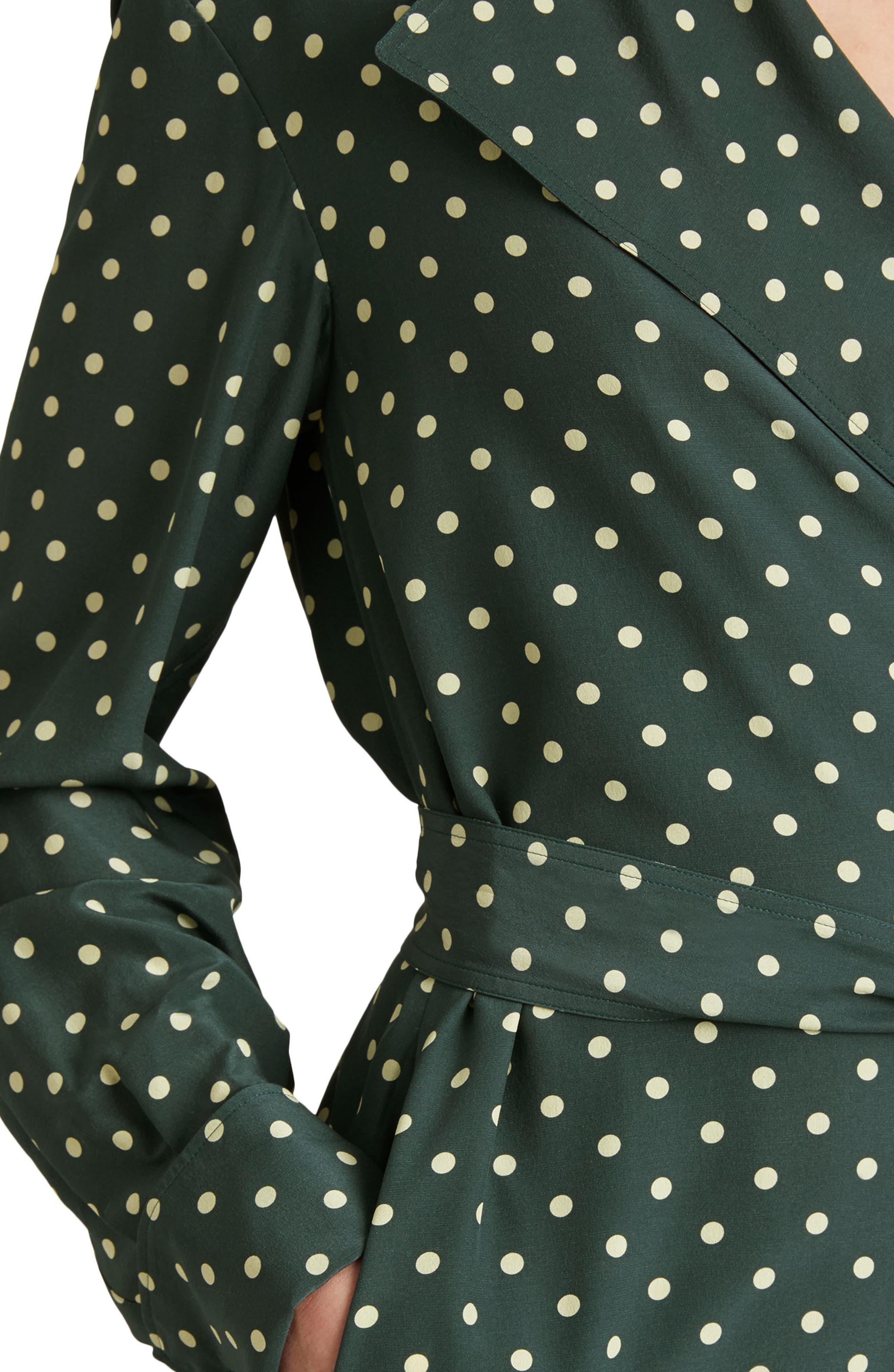 Janis Polka Dot Silk Wrap Dress,                             Alternate thumbnail 5, color,                             Racing Green