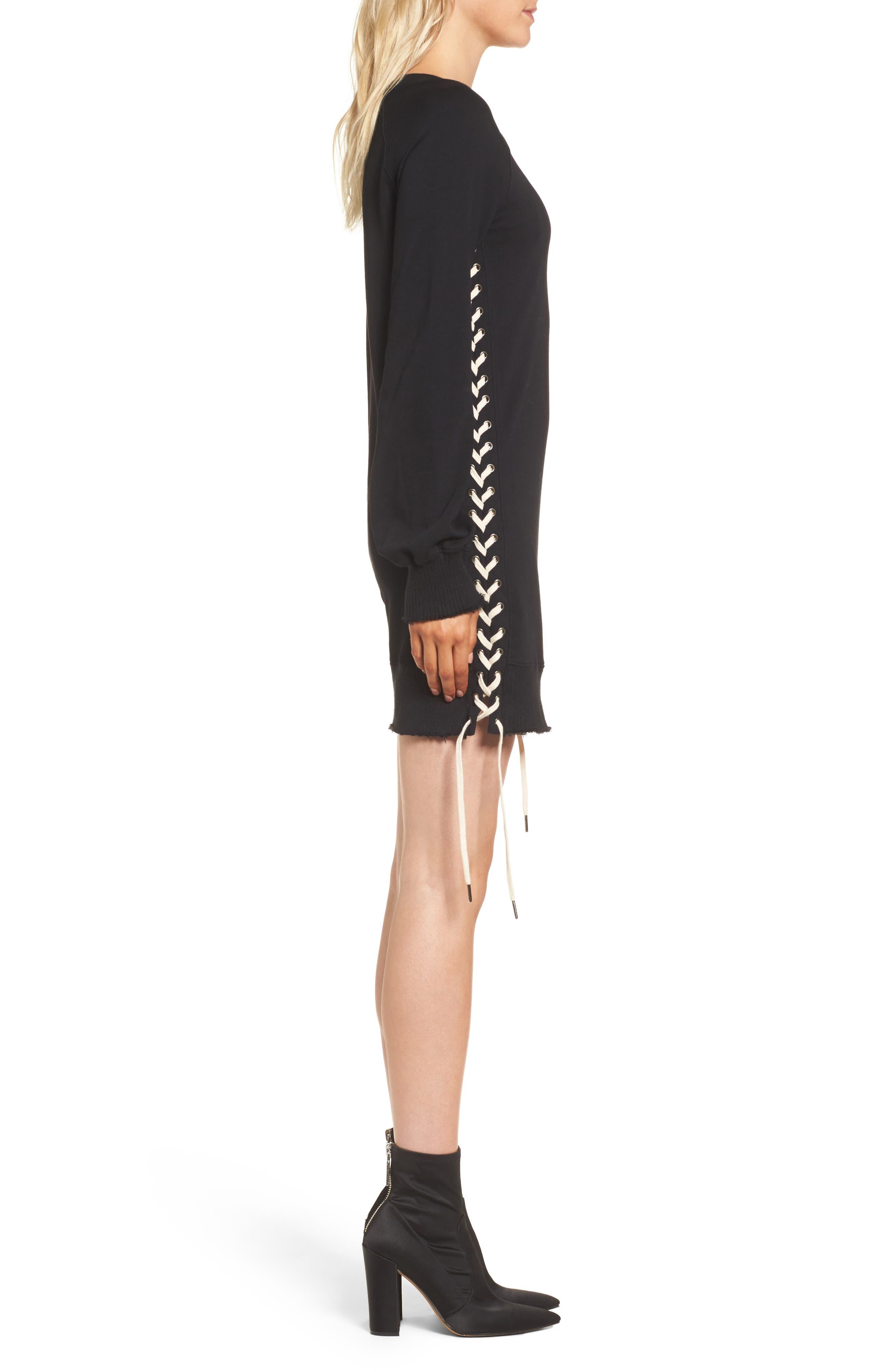 Lace-Up Sweatshirt Dress,                             Alternate thumbnail 3, color,                             Black
