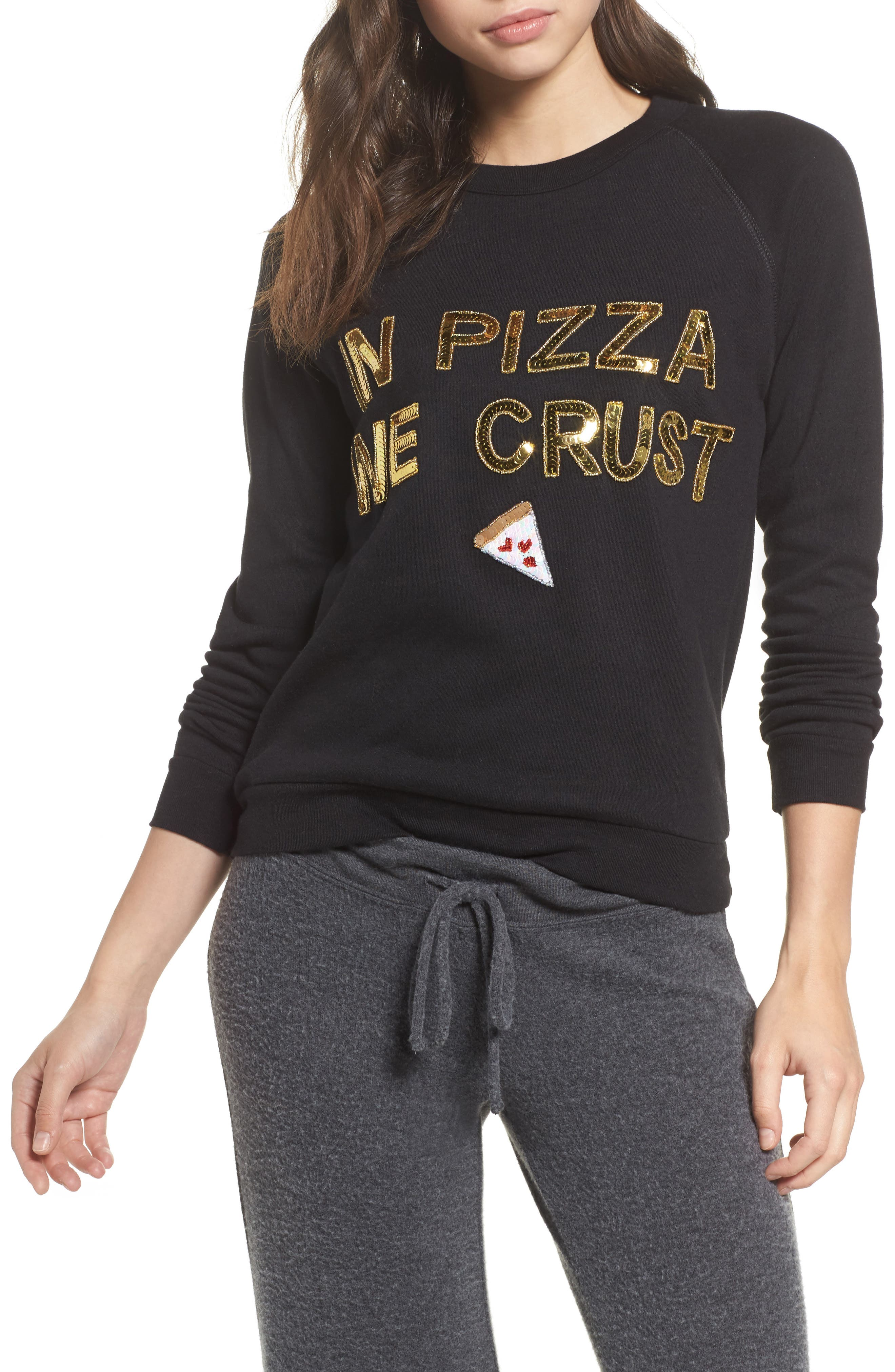 In Pizza We Crust French Terry Sweatshirt,                             Main thumbnail 1, color,                             Black