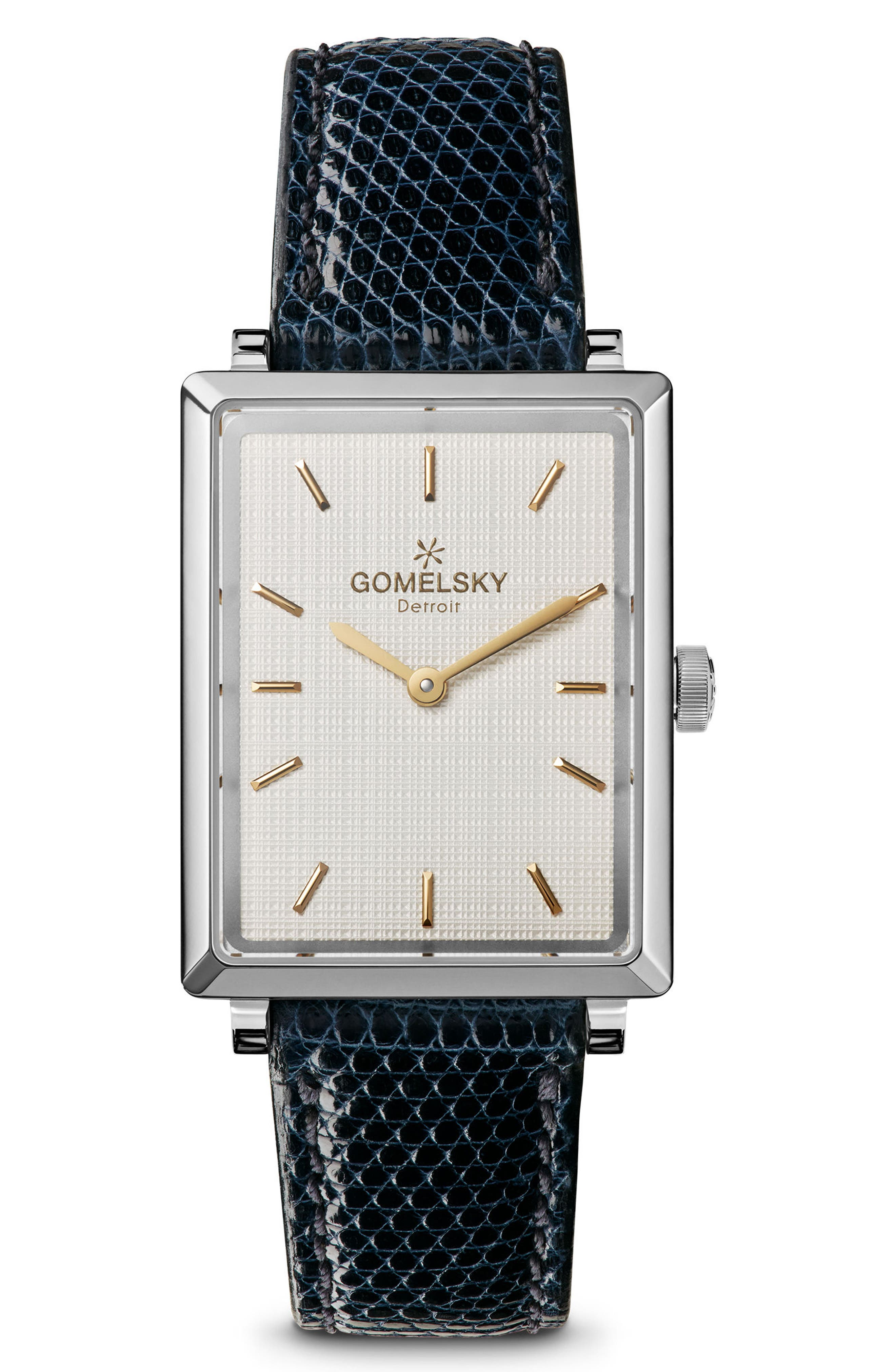 The Shirley Fromer Leather Strap Watch, 32mm x 25mm,                         Main,                         color, Navy/ Brass/ Silver