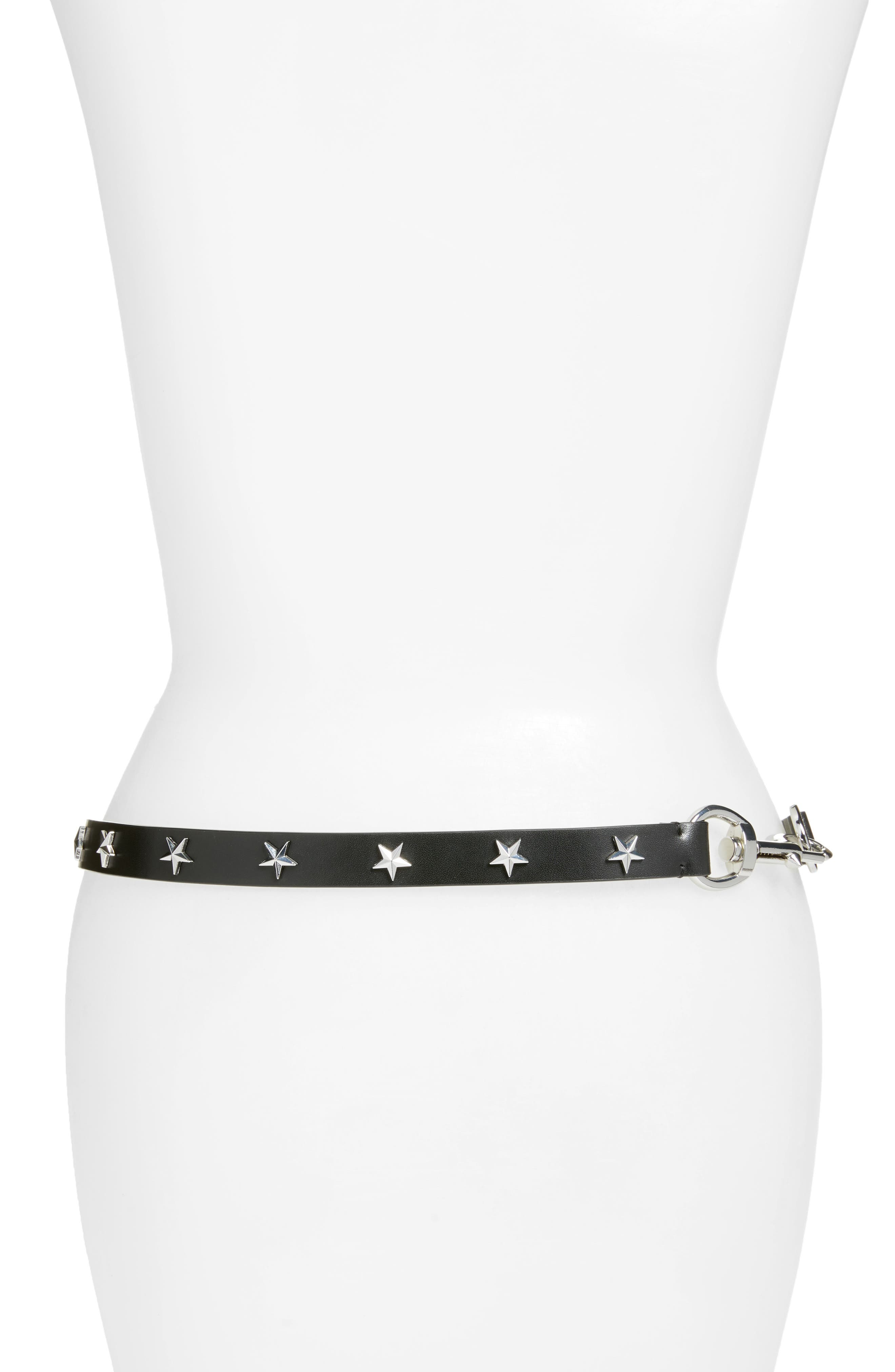 Dog Clip Star Studded Skinny Belt,                             Alternate thumbnail 2, color,                             Black