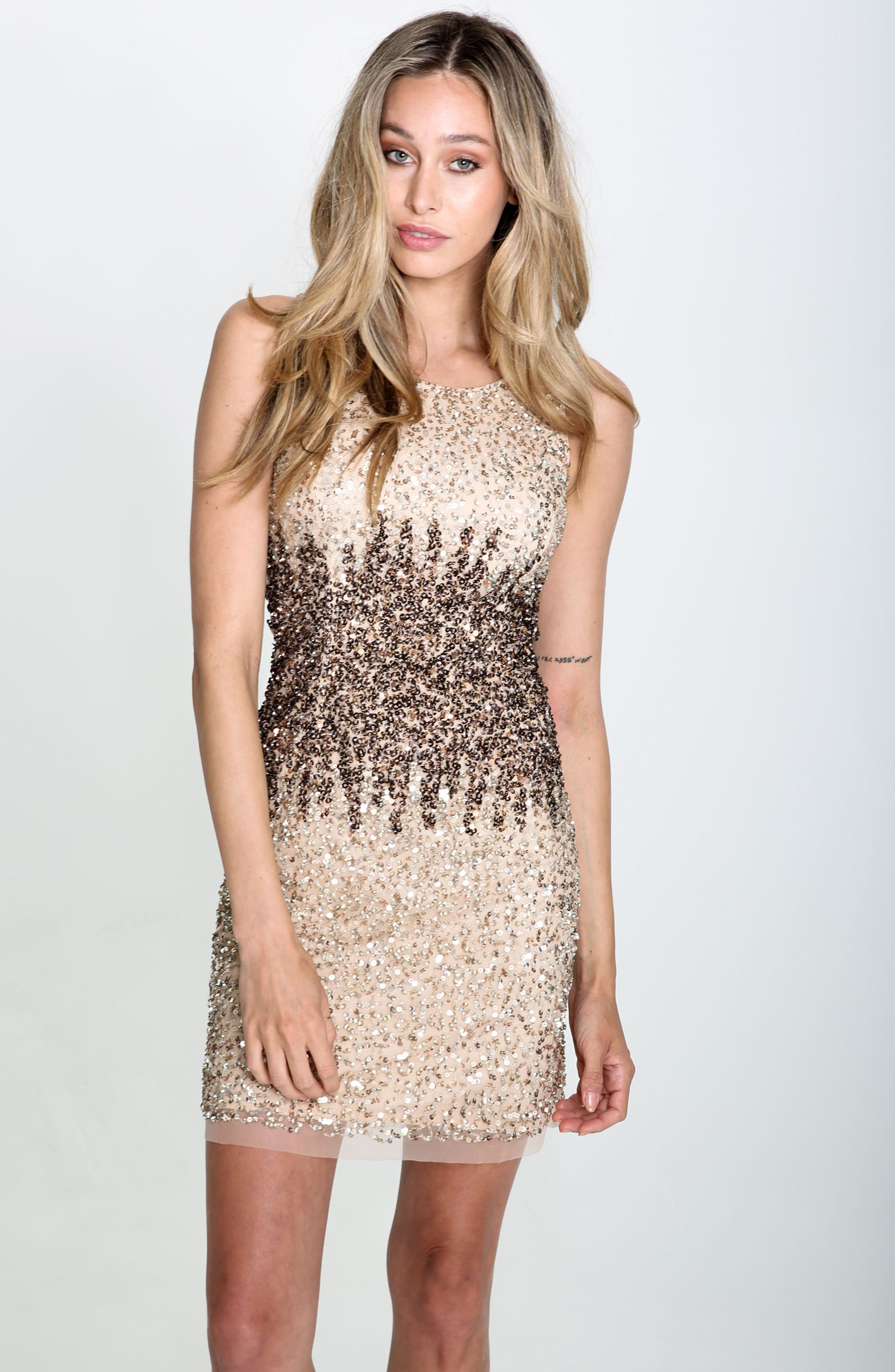 Sequins and Champagne Dress,                             Alternate thumbnail 7, color,                             Beige