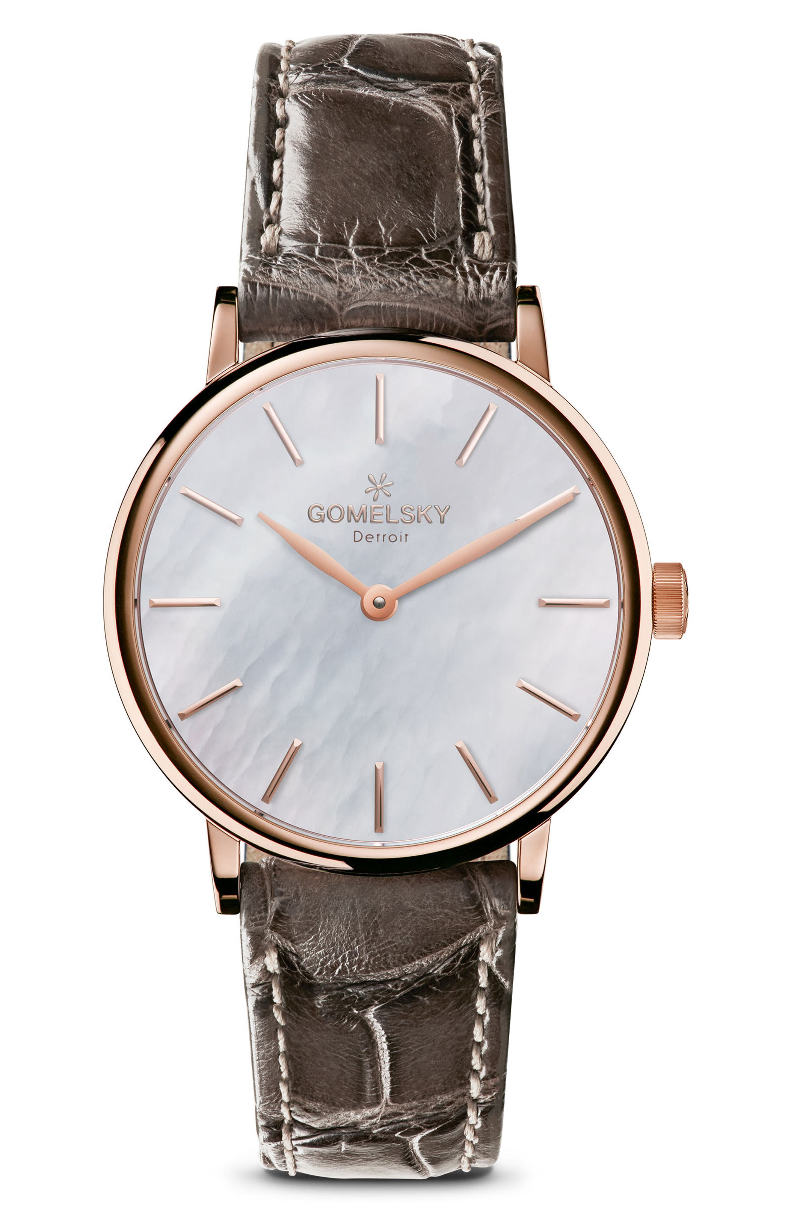 Main Image - Gomelsky The Agnes Varis Lizard Strap Watch, 32mm