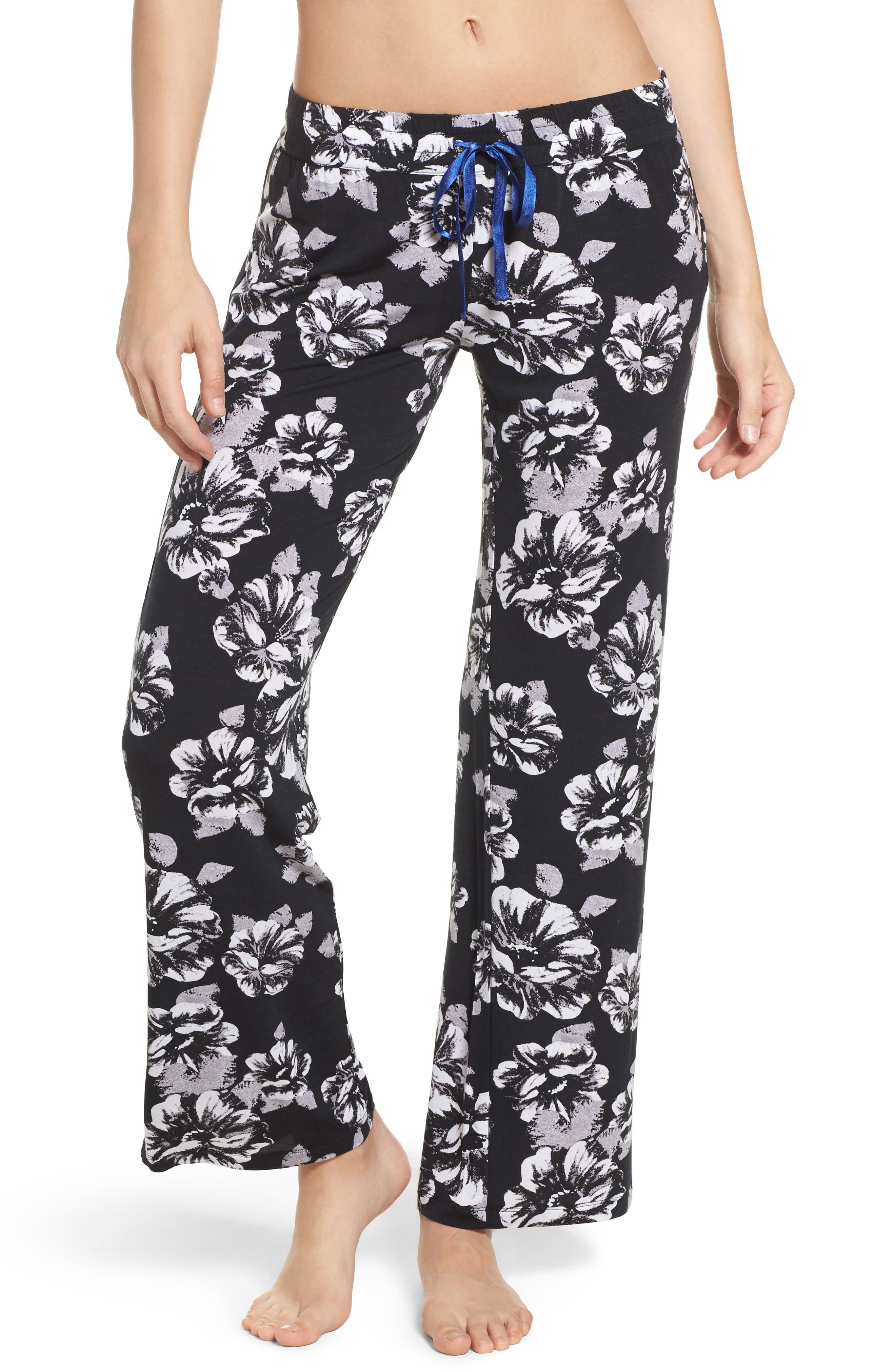 Floral Pajama Pants,                             Main thumbnail 1, color,                             Black