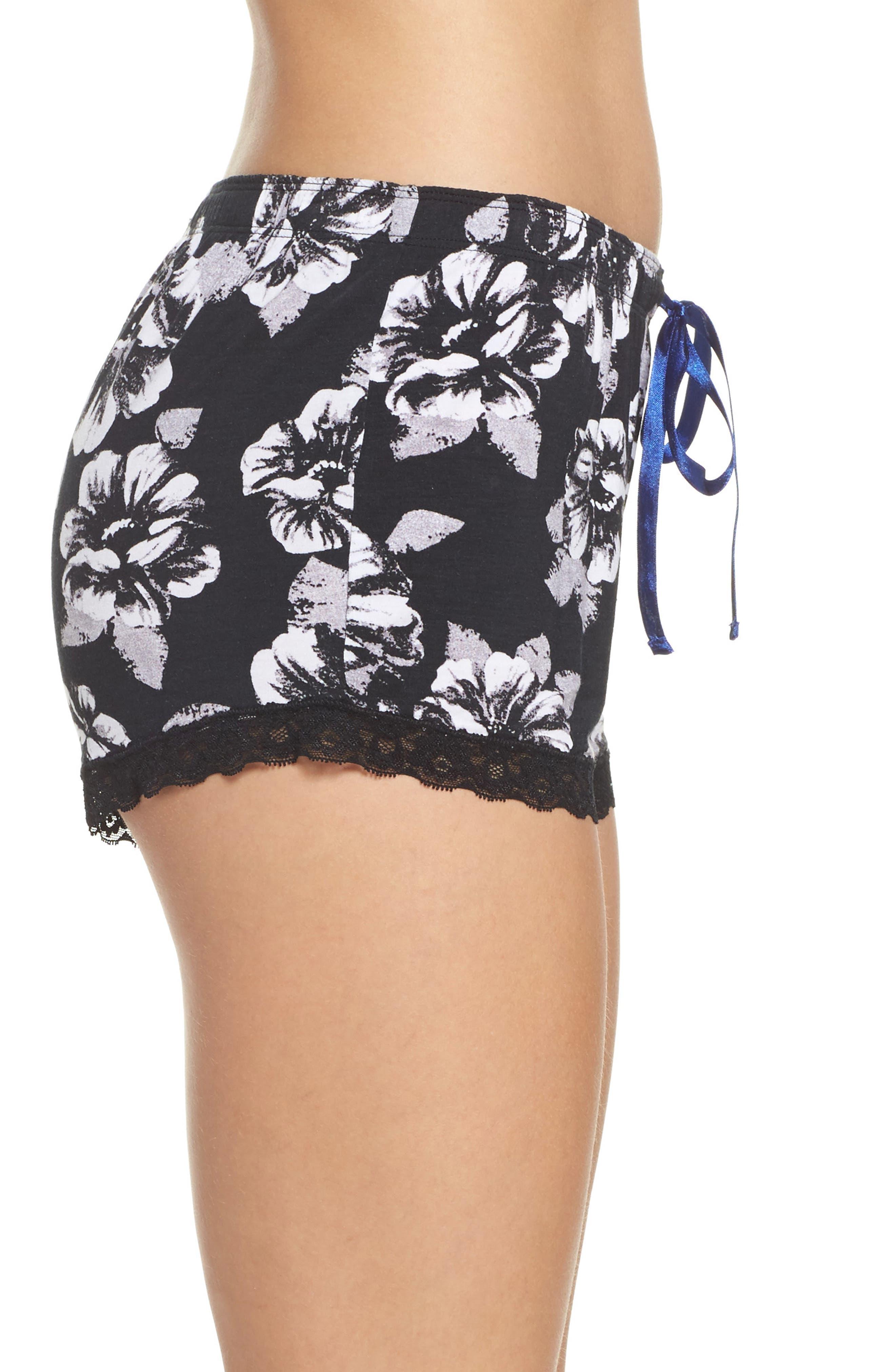 Floral Lounge Shorts,                             Alternate thumbnail 3, color,                             Black