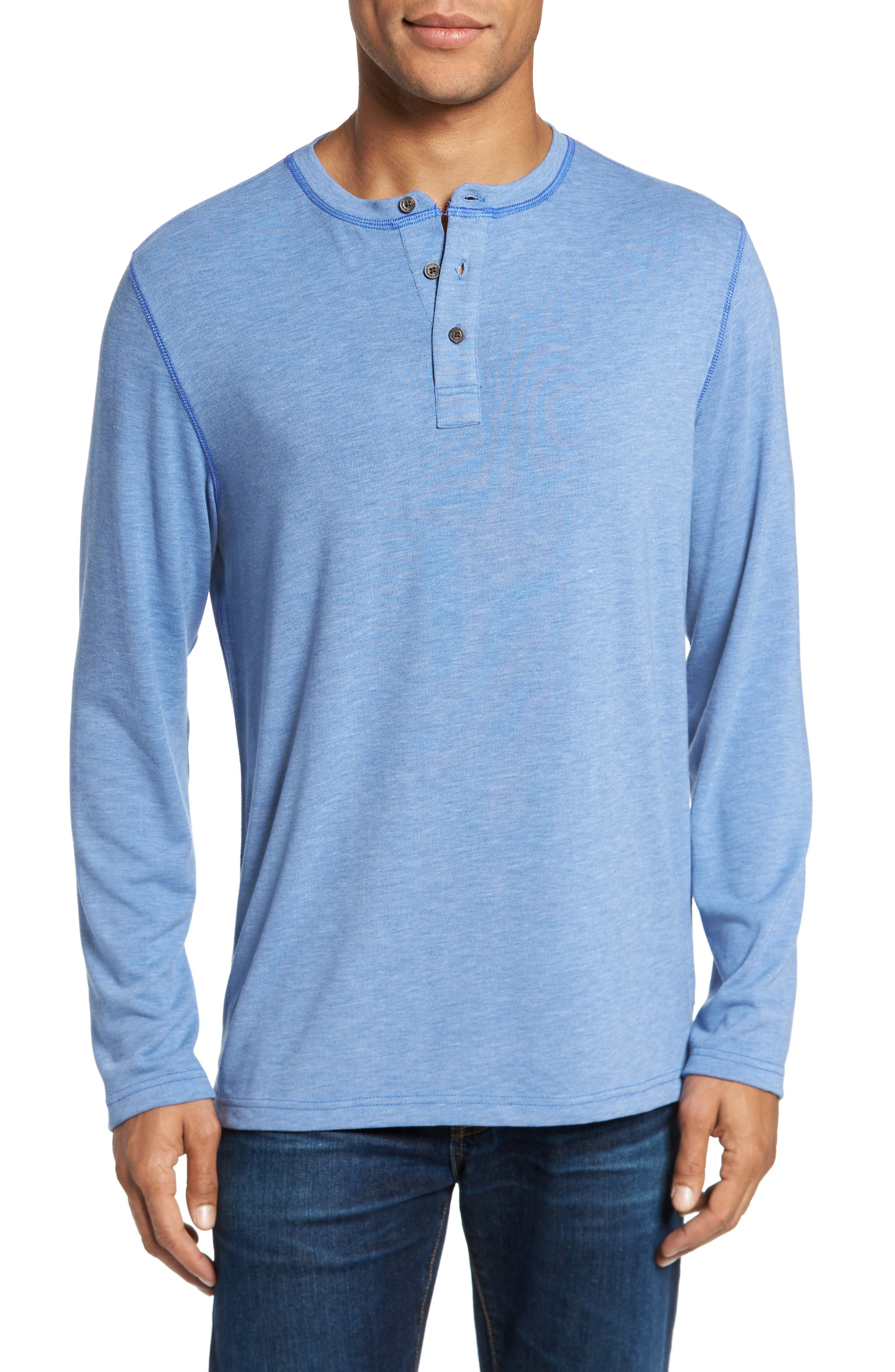 Long Sleeve Henley,                         Main,                         color, Dazzling Blue Heather