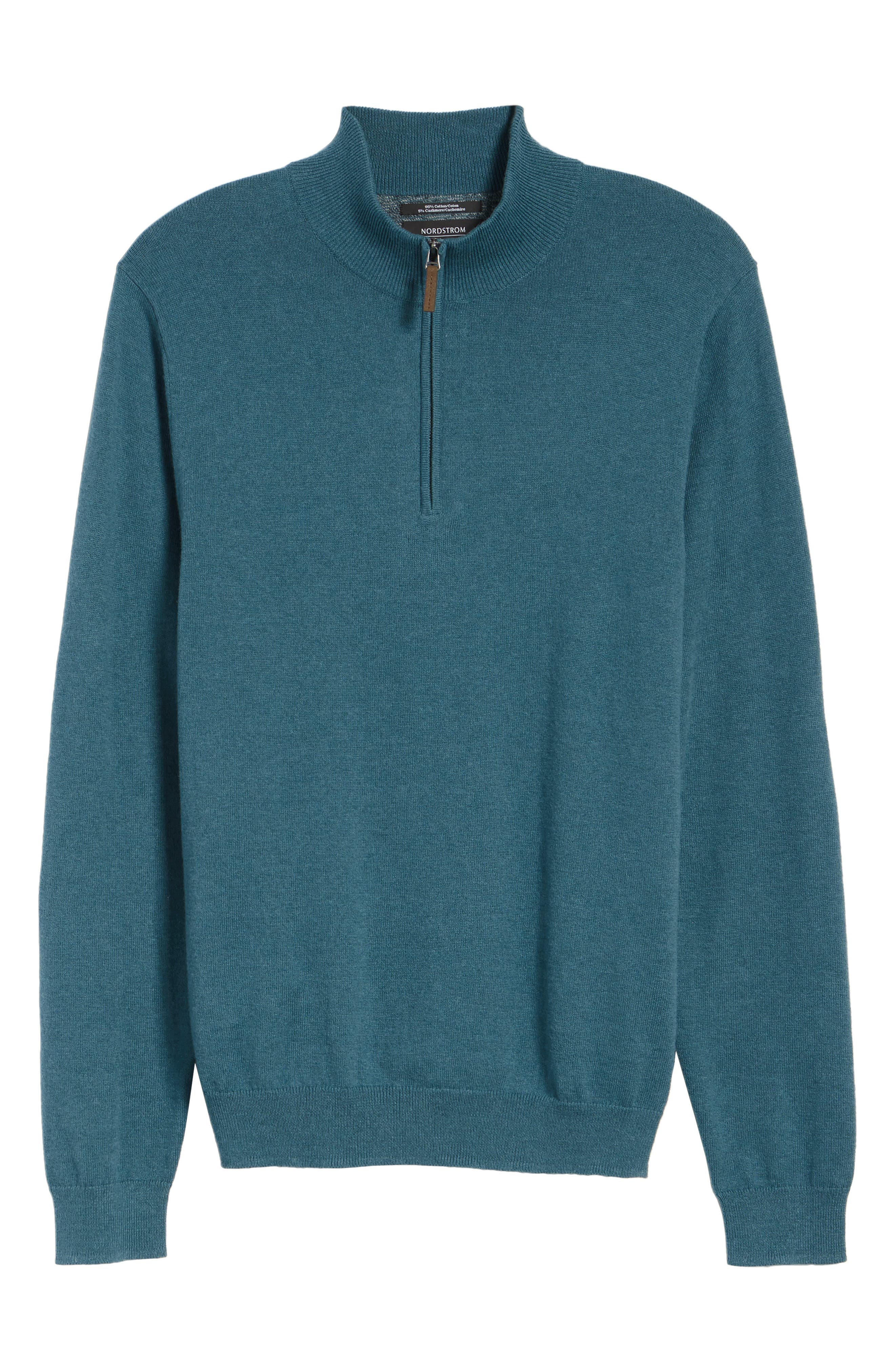 Half Zip Cotton & Cashmere Pullover,                             Alternate thumbnail 6, color,                             Teal Moroccan