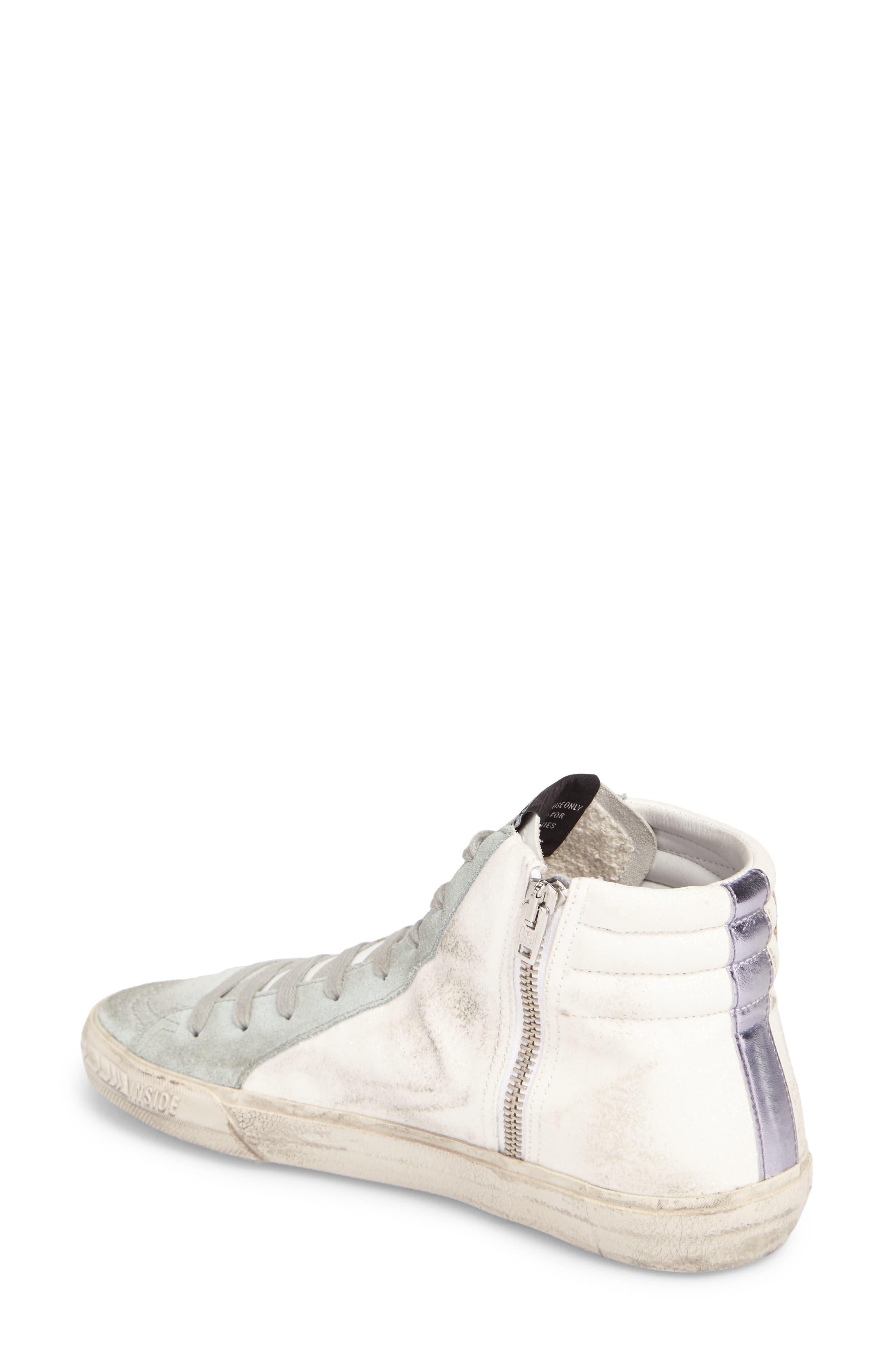 Slide High Top Sneaker,                             Alternate thumbnail 2, color,                             White/ Mint Green