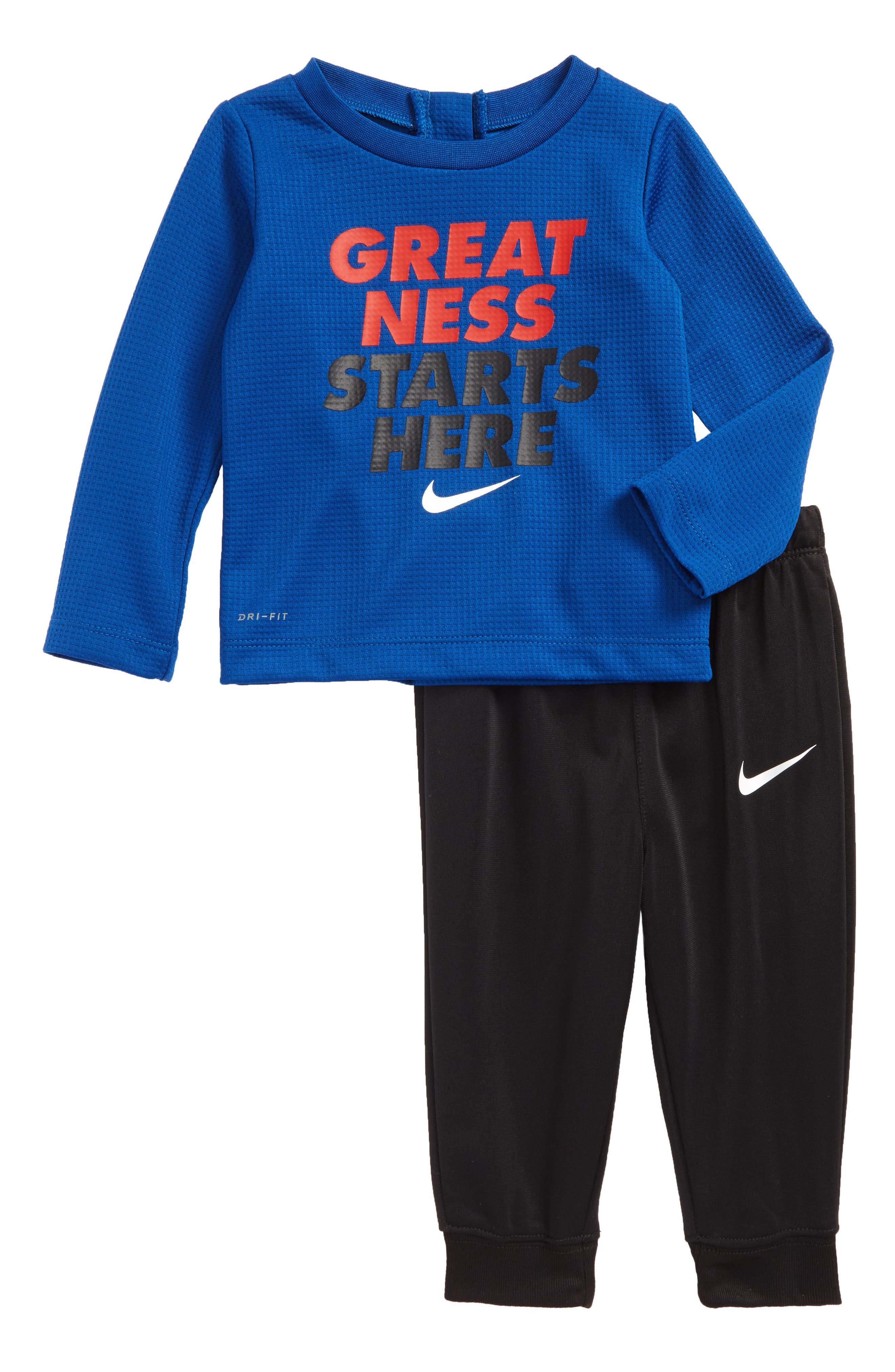 Dry Thermal Top & Sweatpants Set,                             Main thumbnail 1, color,                             Gym Blue