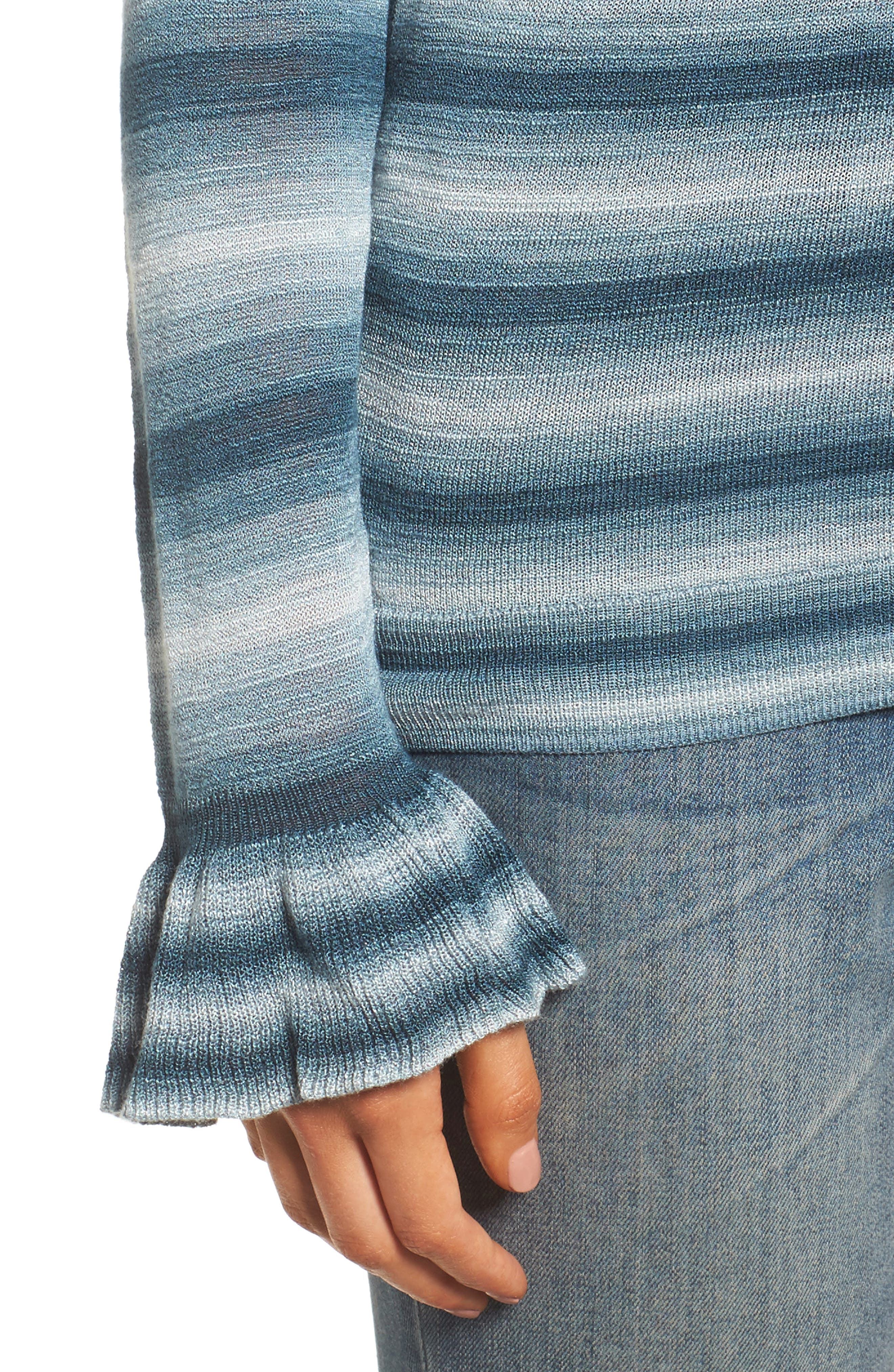 Gradient Stripe Sweater,                             Alternate thumbnail 4, color,                             Teal Abyss Combo