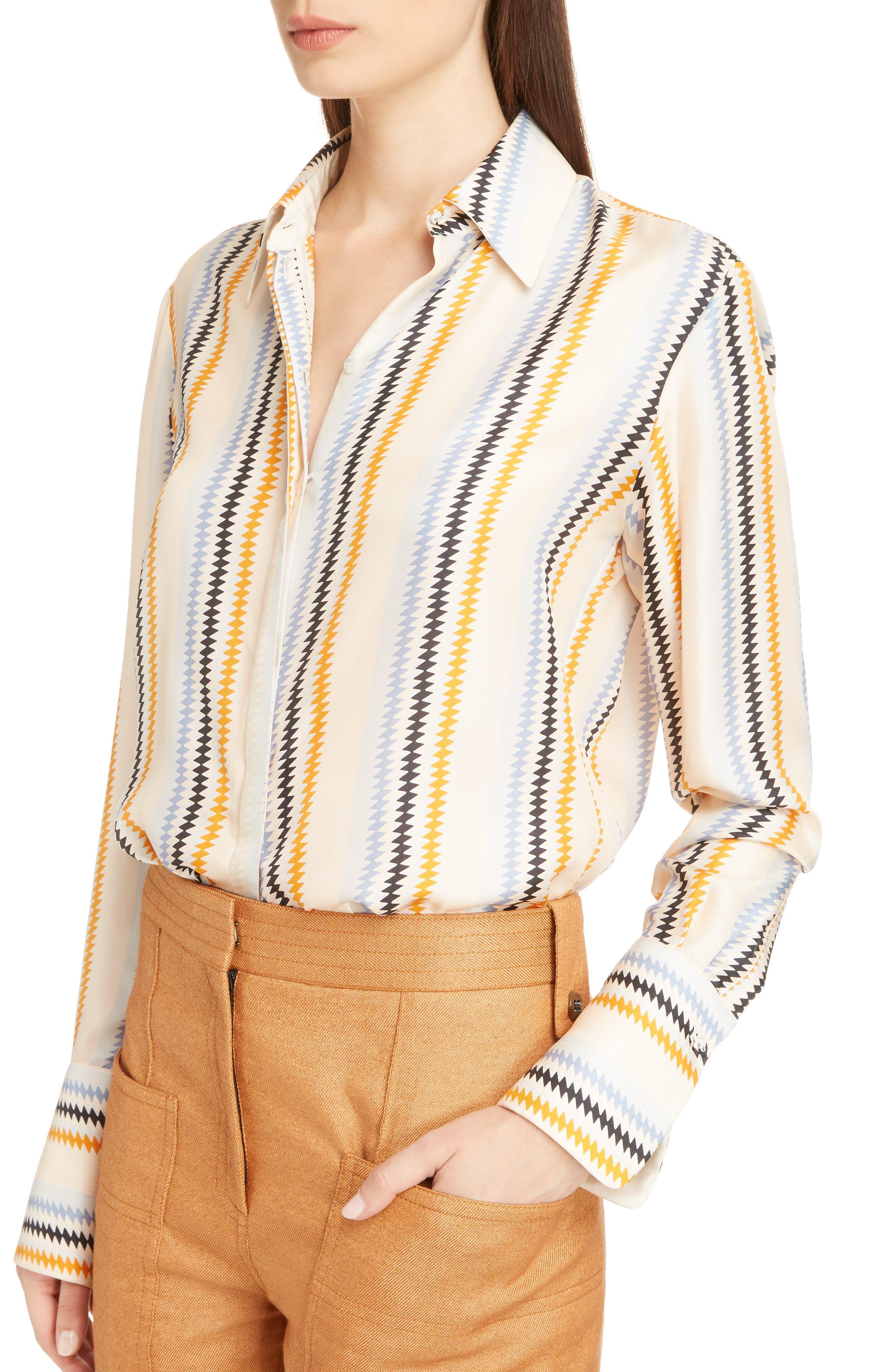 Alternate Image 4  - Victoria, Victoria Beckham Fluid Stripe Silk Shirt