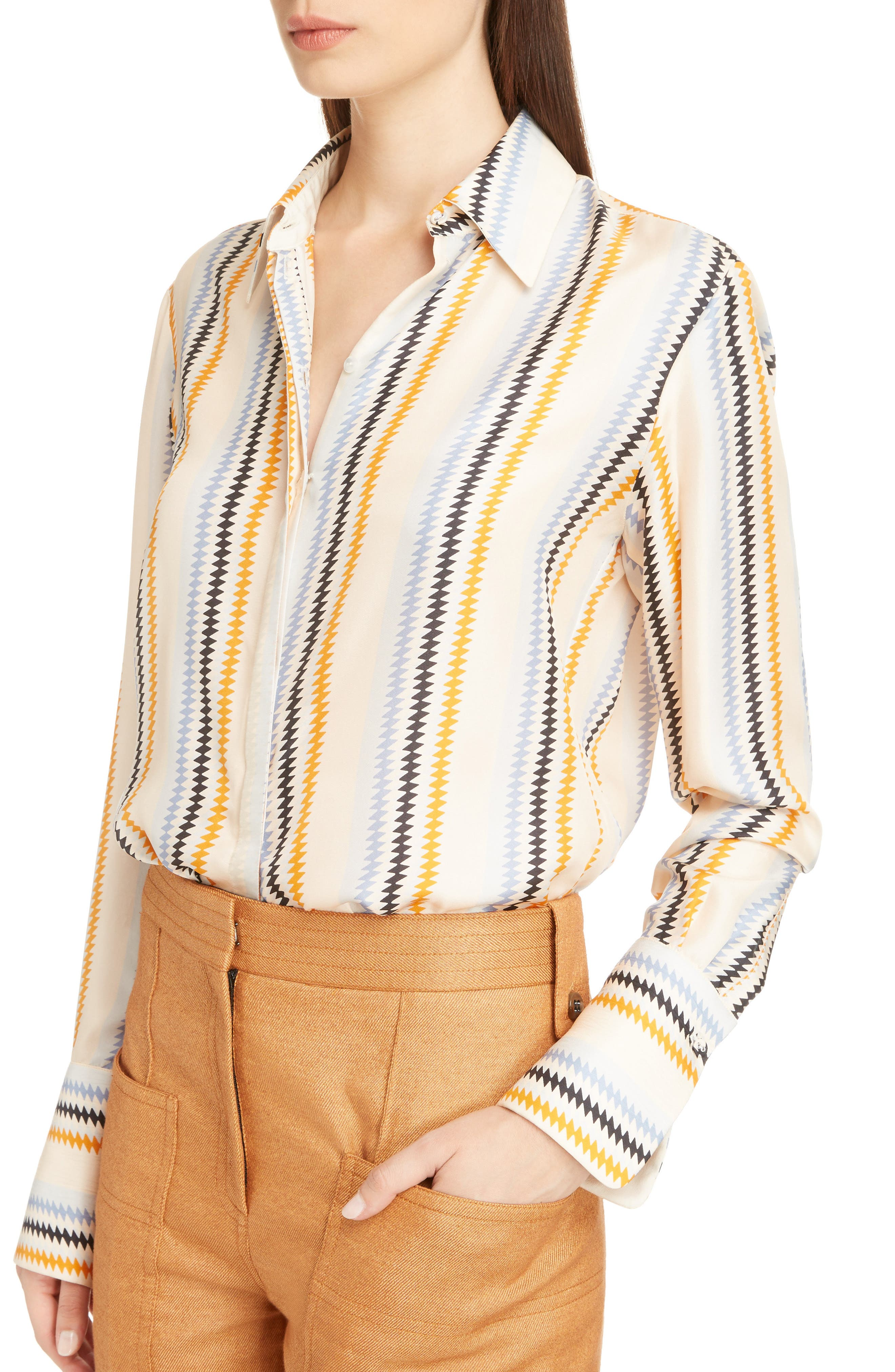 Fluid Stripe Silk Shirt,                             Alternate thumbnail 4, color,                             Zig Zag Stripe