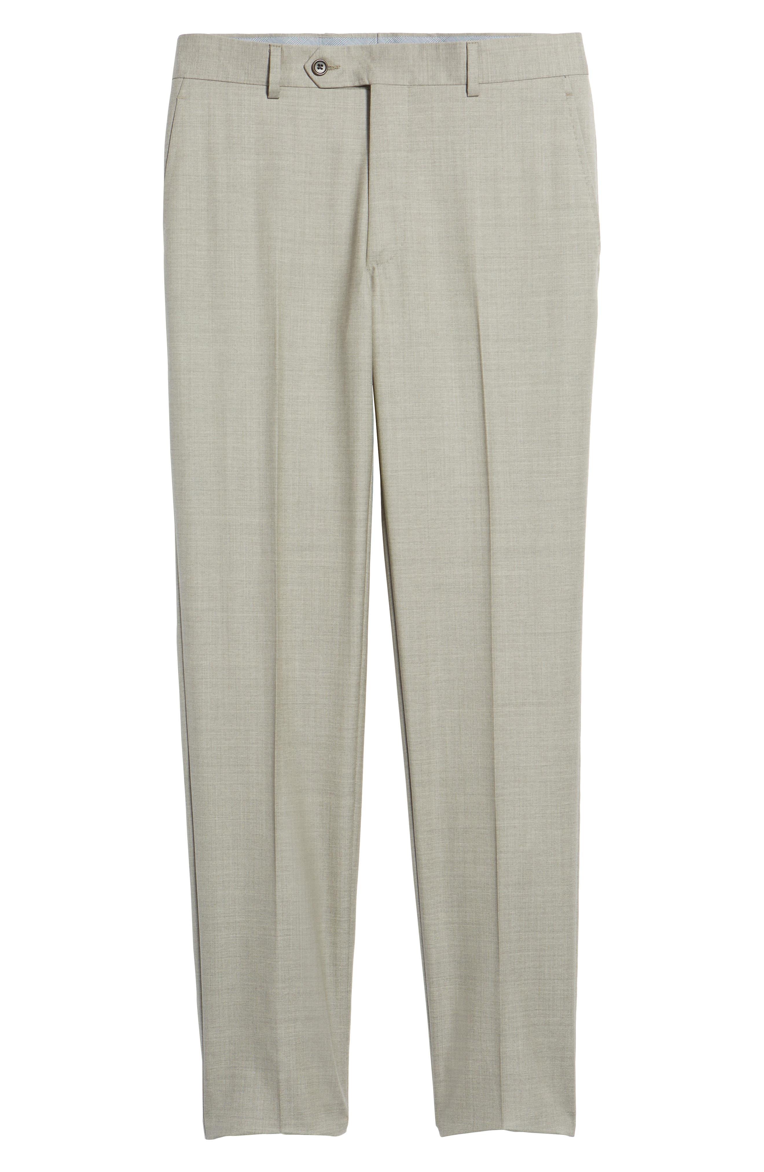 Peter Millar Multi Season Super 150s Wool Flat Front Trousers,                             Alternate thumbnail 6, color,                             Sabbia