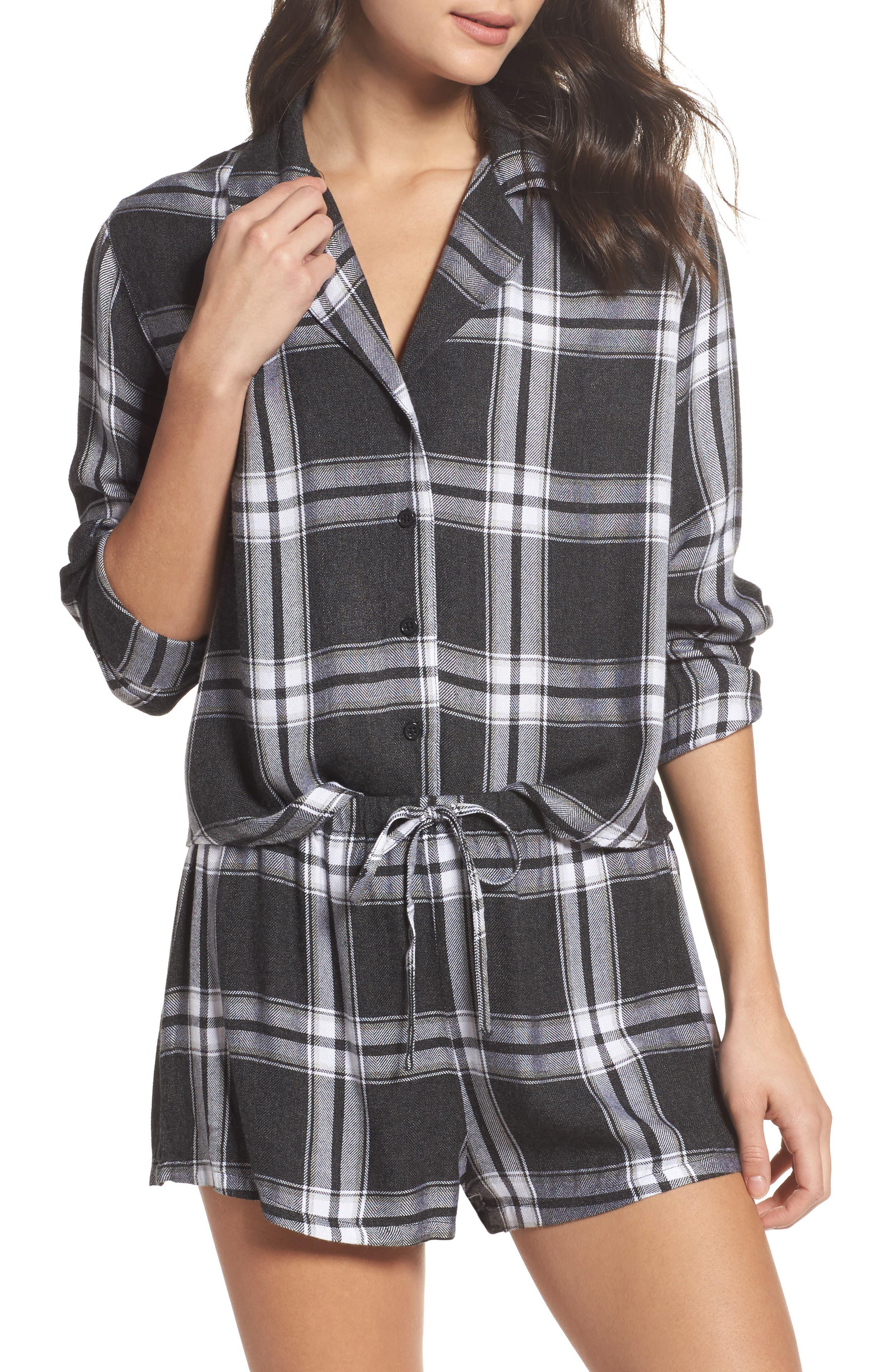 Plaid Short Pajamas,                             Main thumbnail 1, color,                             Ash/ Bone