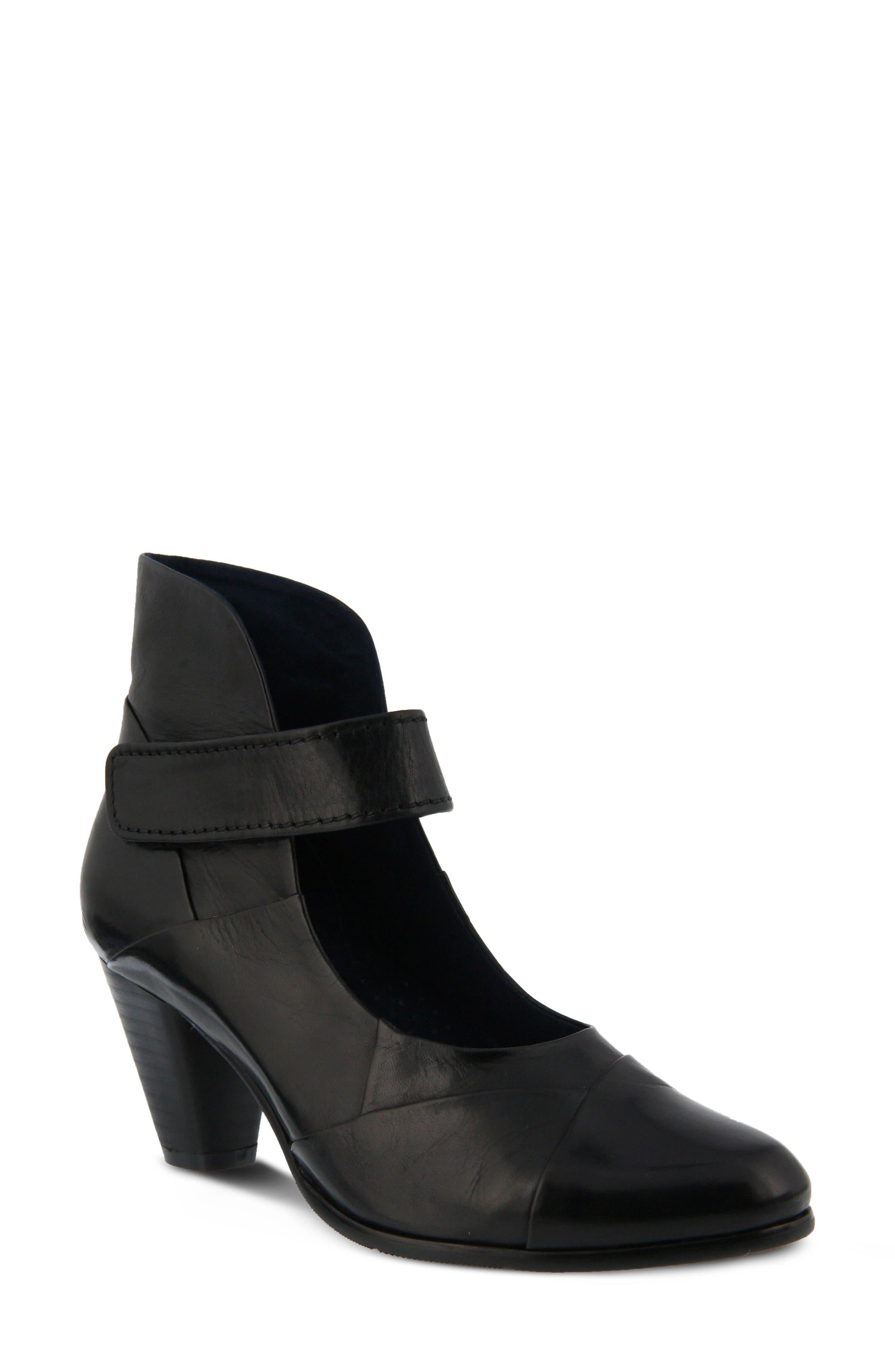 Chapeco Patchwork Ankle Strap Pump,                             Main thumbnail 1, color,                             Black Leather