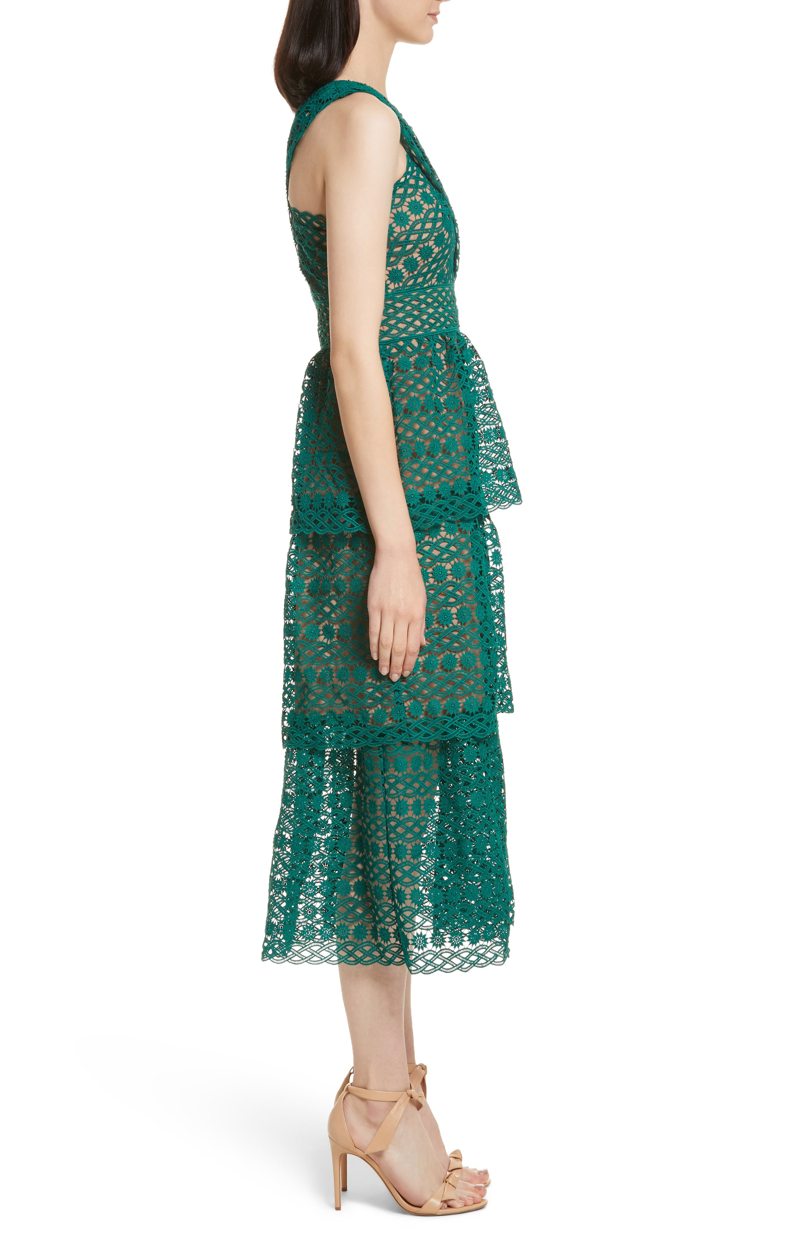 Lace One-Shoulder Midi Dress,                             Alternate thumbnail 3, color,                             Green