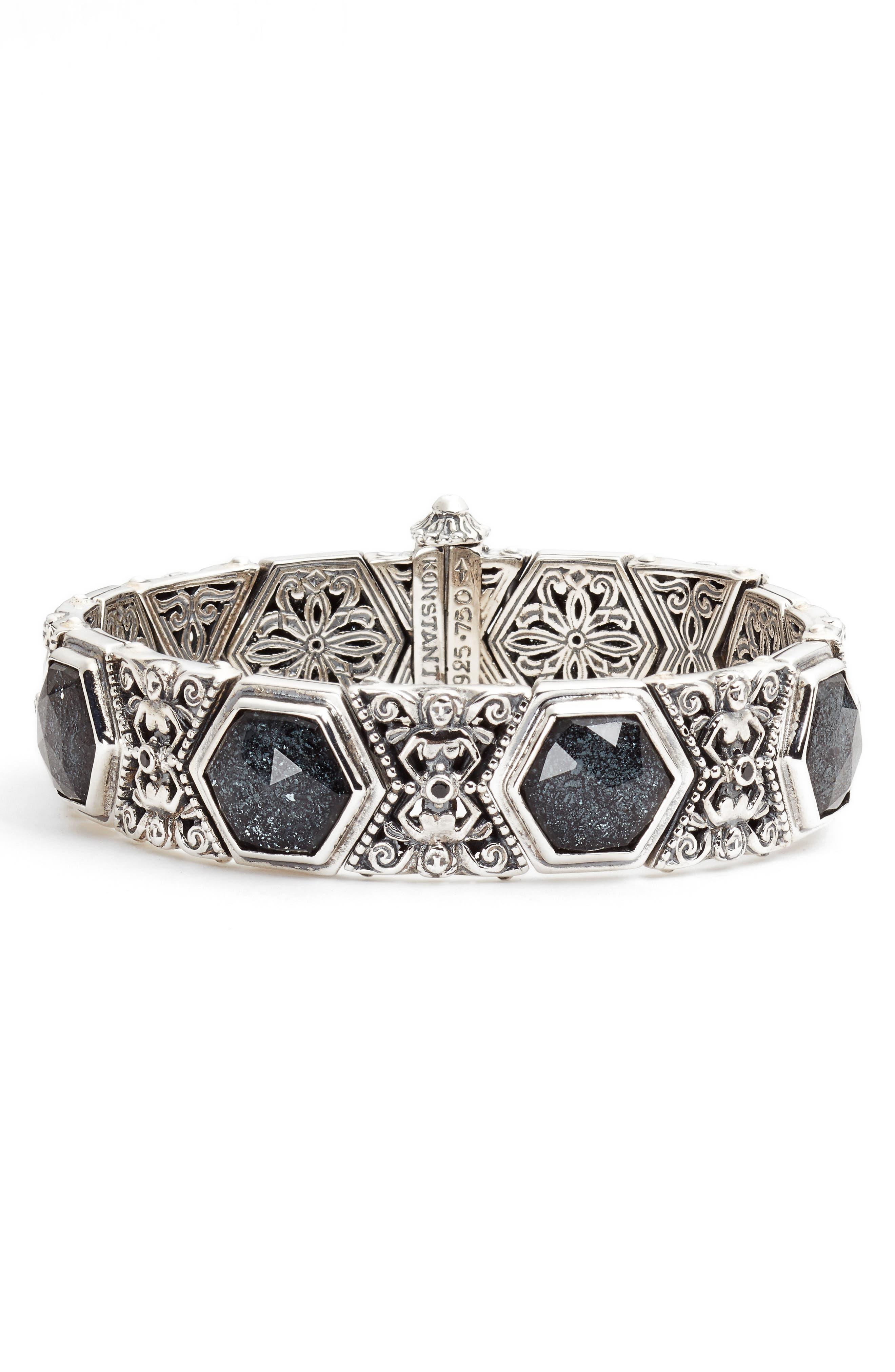 Santorini Hematite Bracelet,                             Main thumbnail 1, color,                             Silver/ Hematite