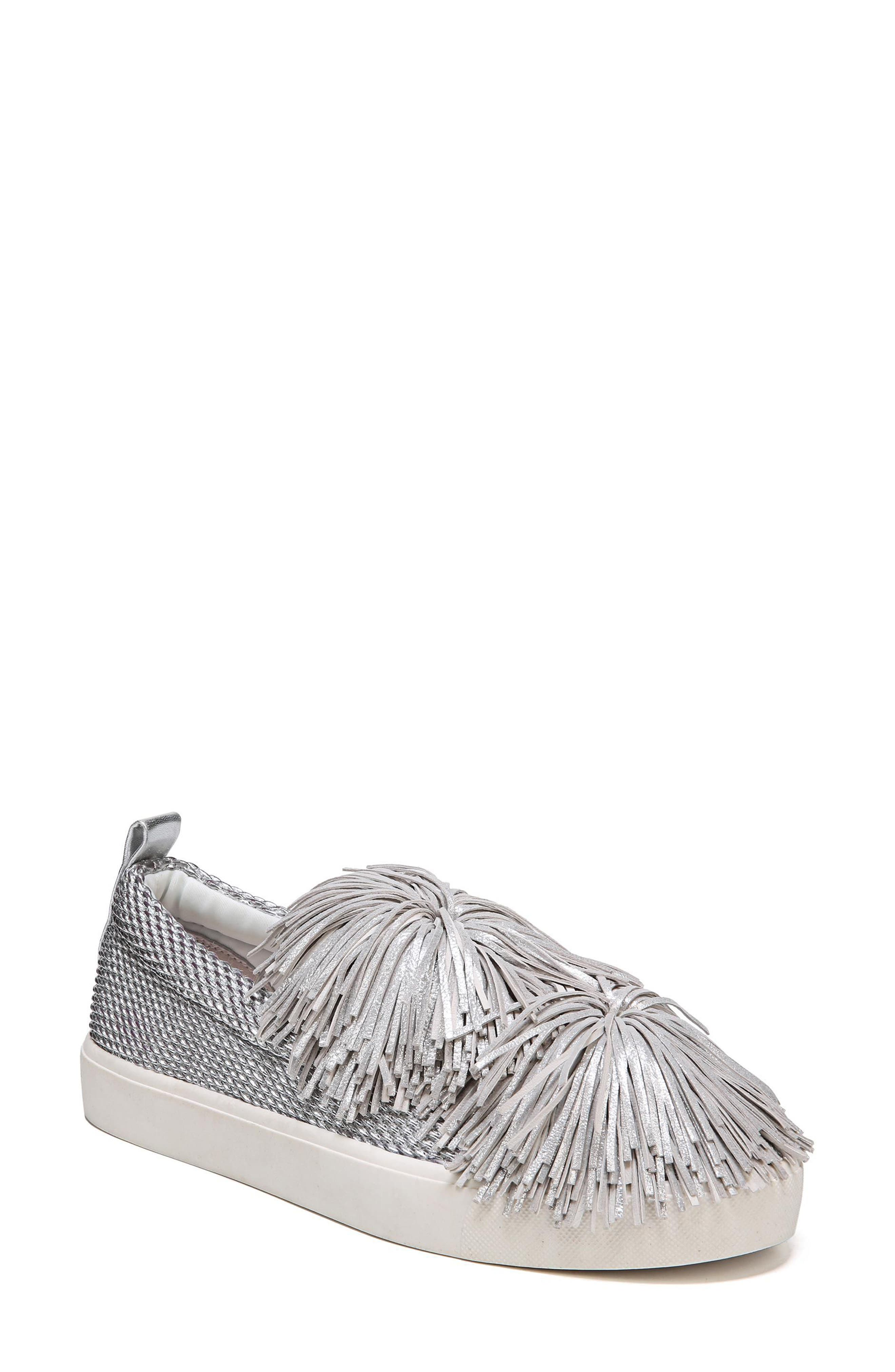 Emory Fringe Pompom Sneaker,                             Main thumbnail 1, color,                             Metallic Silver