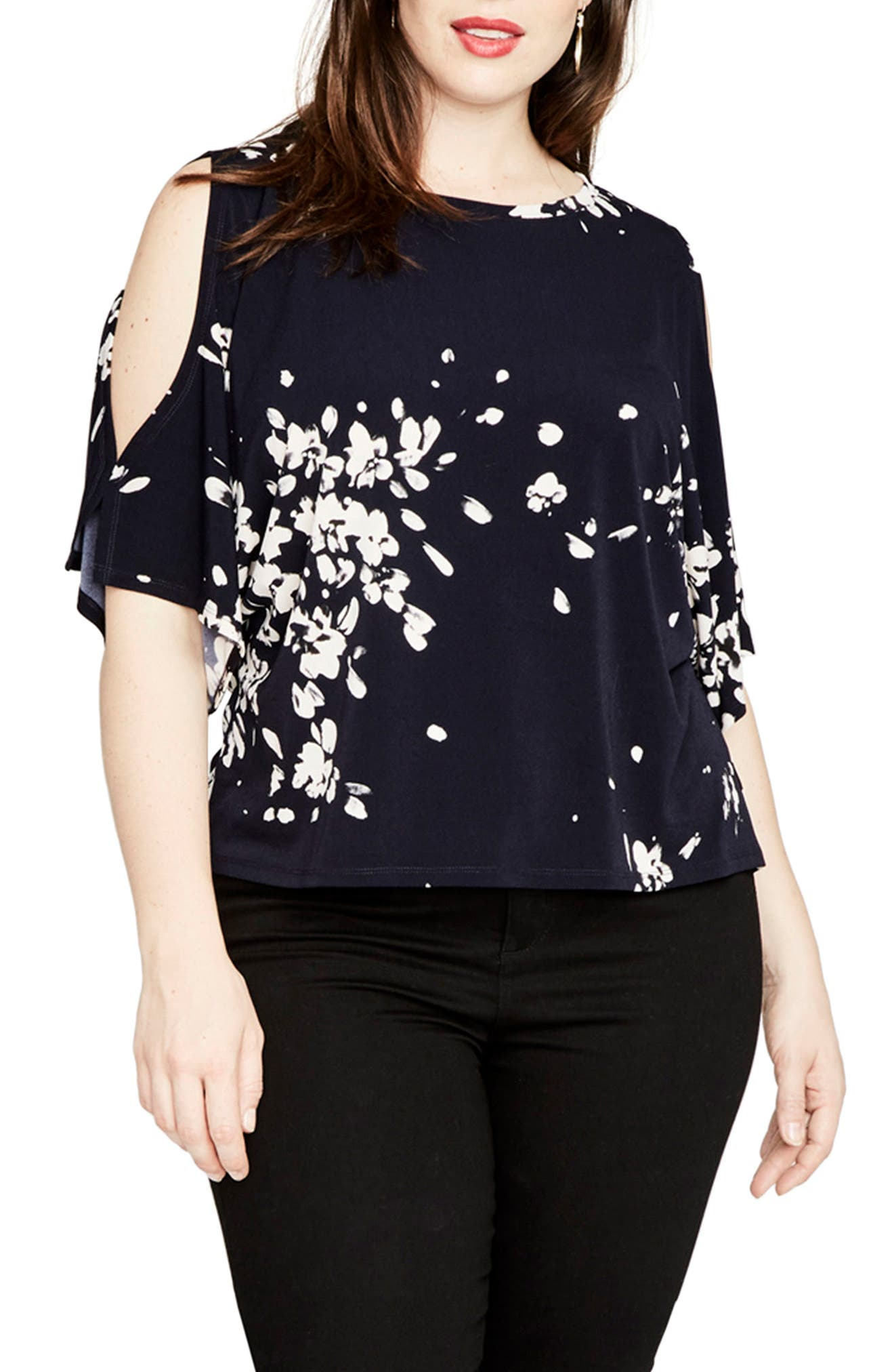 Floral Cold Shoulder Top,                         Main,                         color, Navy Combo