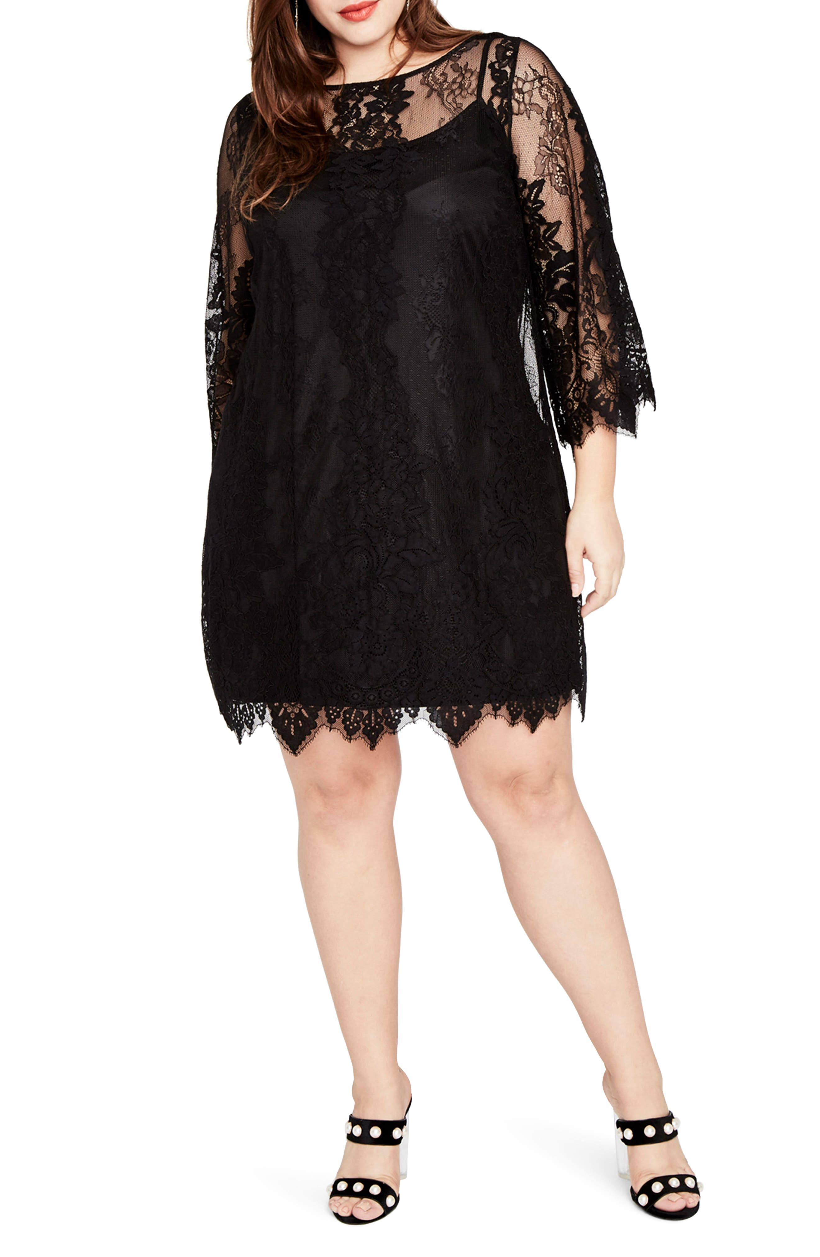Bell Sleeve Lace Dress,                             Main thumbnail 1, color,                             Black