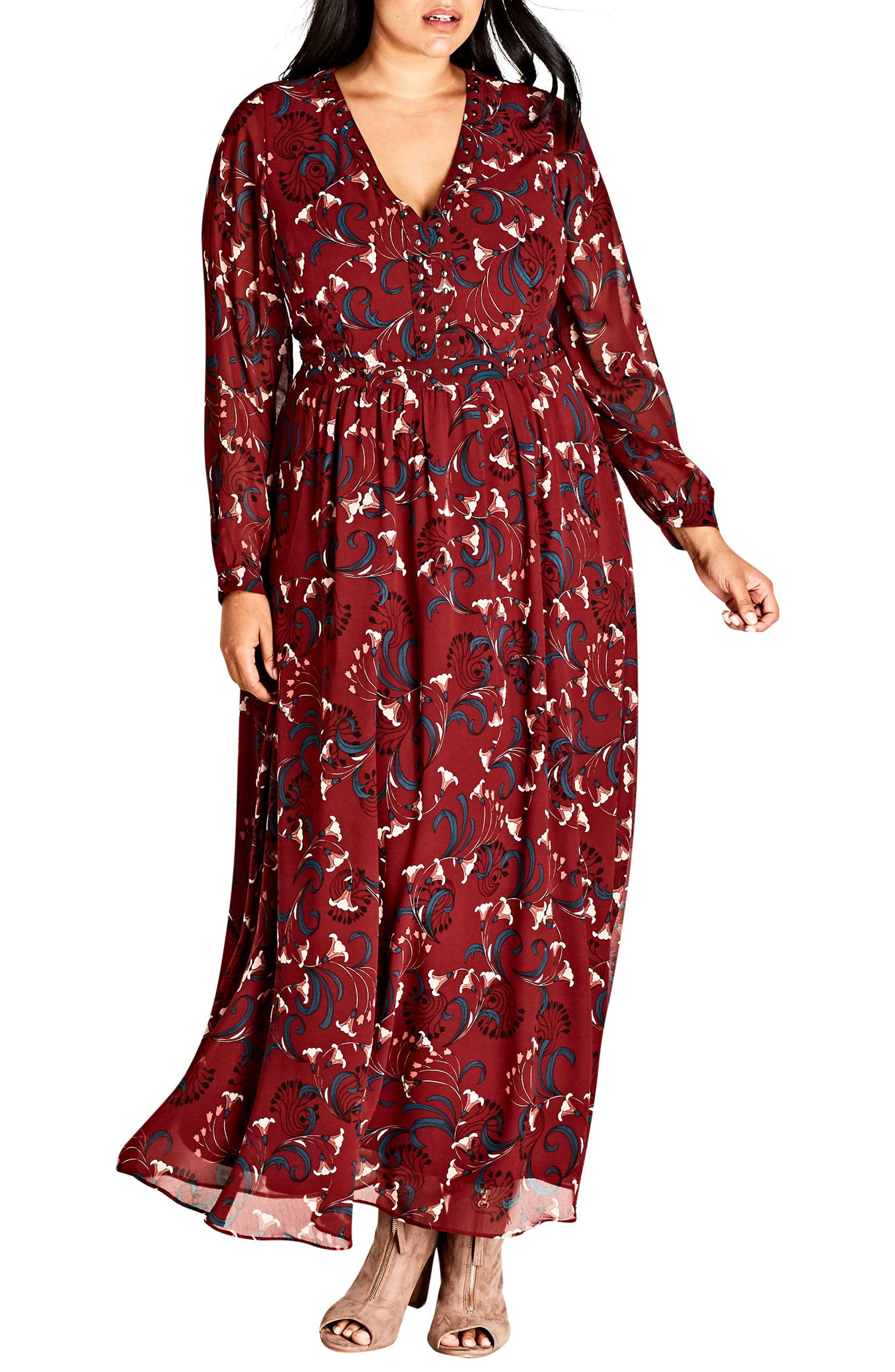 Alternate Image 1 Selected - City Chic Folk Love Maxi Dress (Plus Size)