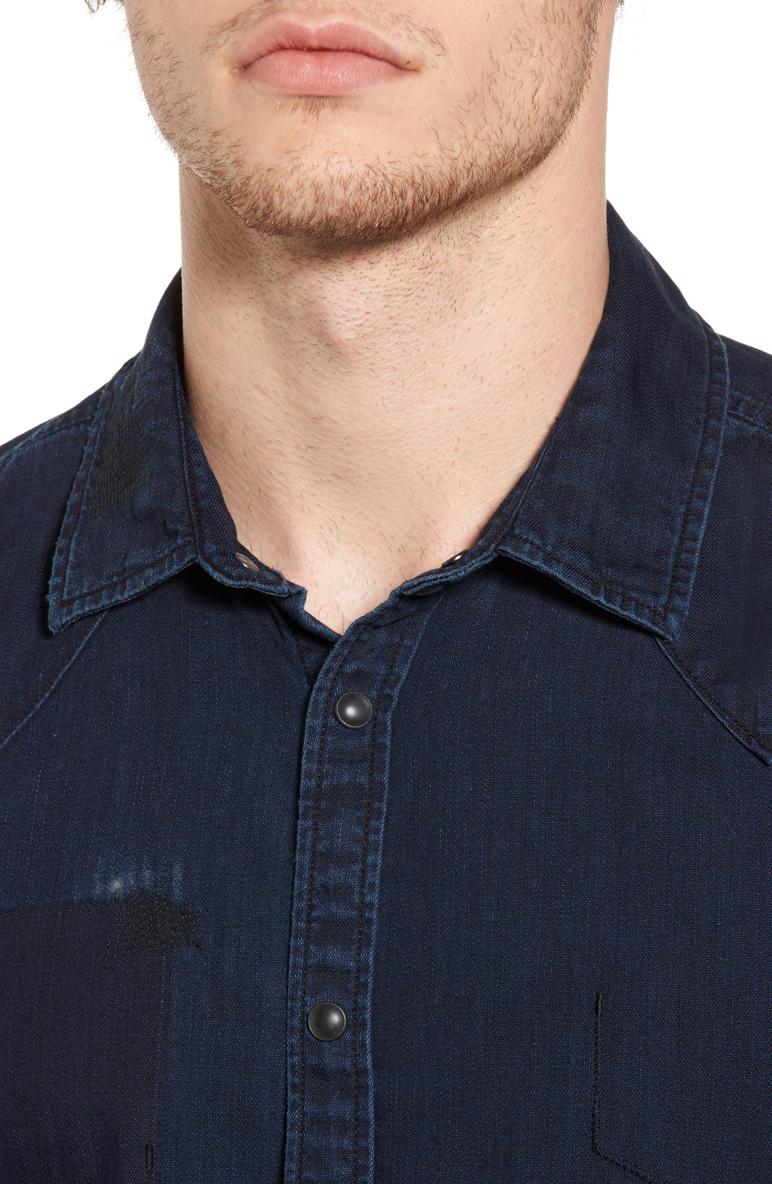 Pocketless Western Denim Shirt,                             Alternate thumbnail 4, color,                             Midnight