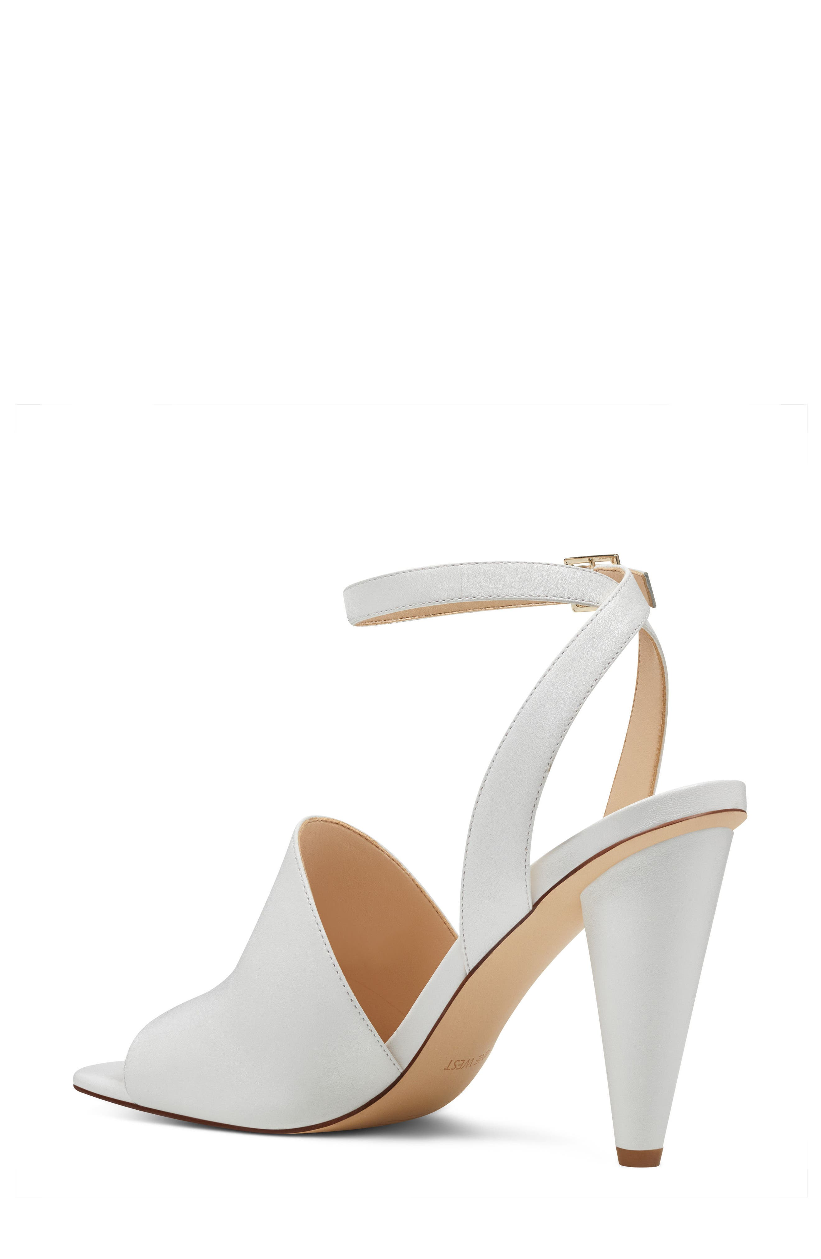 Quilty Ankle Strap Sandal,                             Alternate thumbnail 2, color,                             White Leather