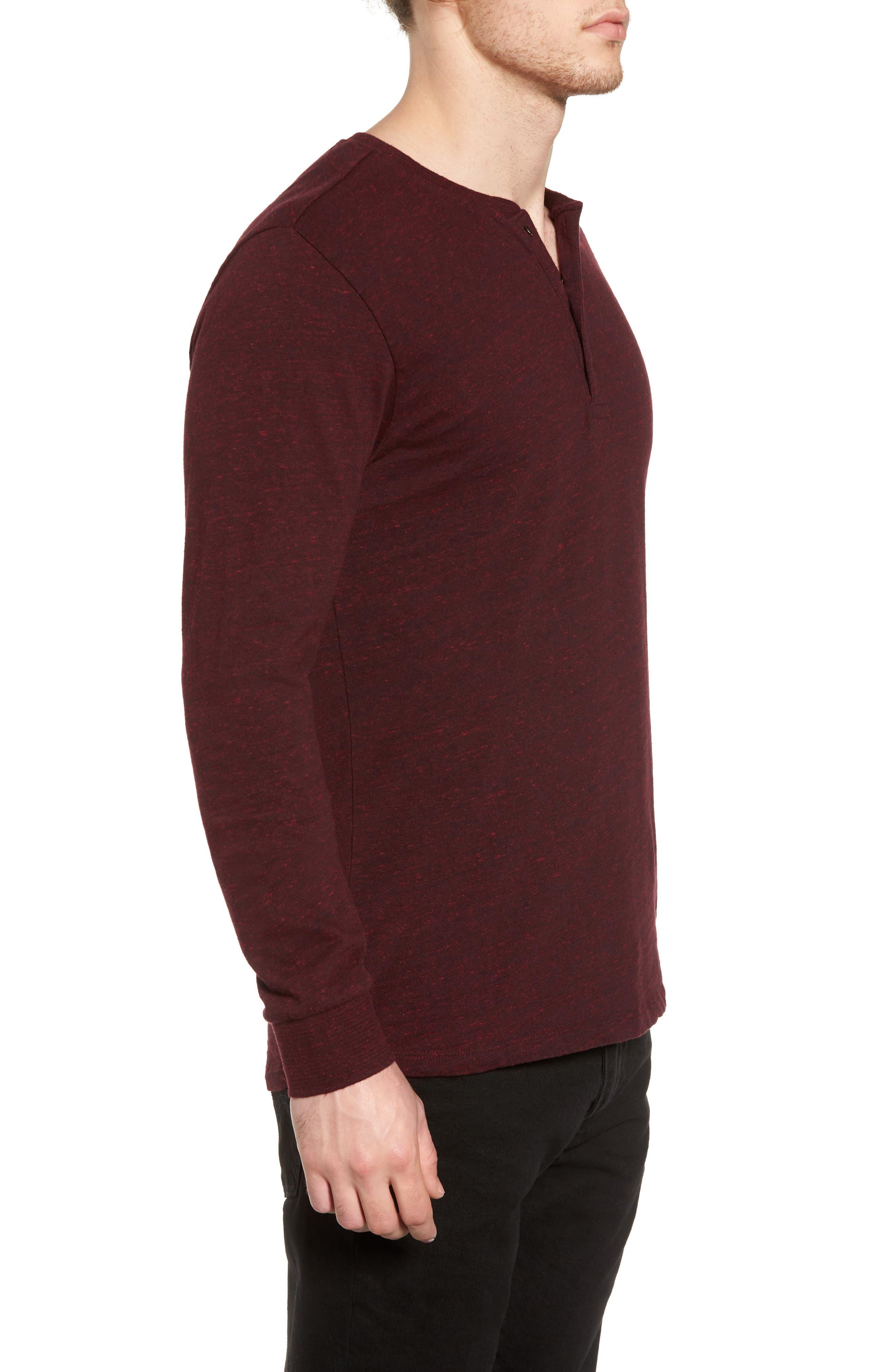 Grandad Henley T-Shirt,                             Alternate thumbnail 4, color,                             Oxblood Melange