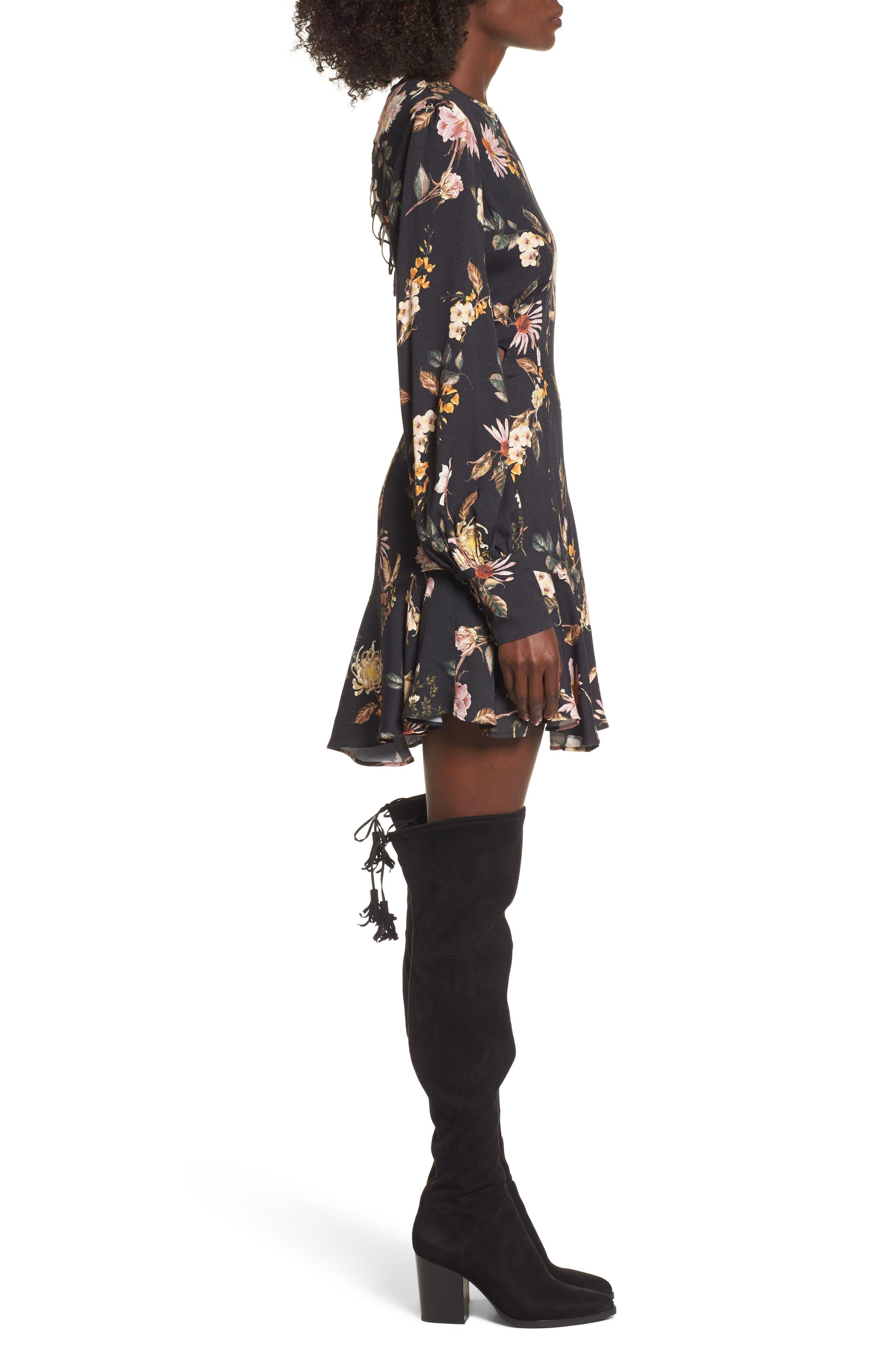 Savanna Lattice Back Fit & Flare Dress,                             Alternate thumbnail 3, color,                             Noir Floral