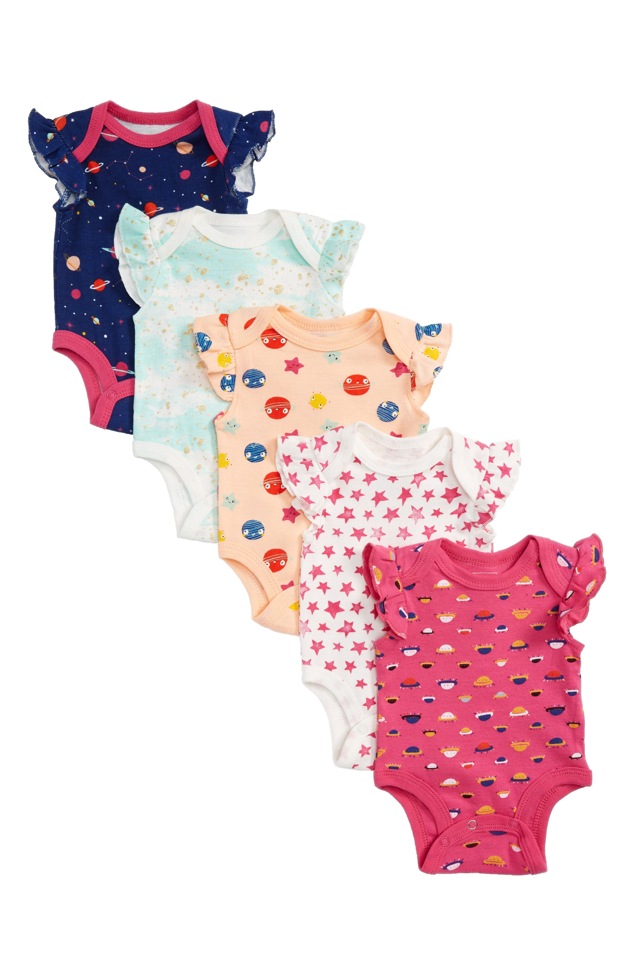Welcome Tiny Human 5-Pack Bodysuits,                         Main,                         color, Peach