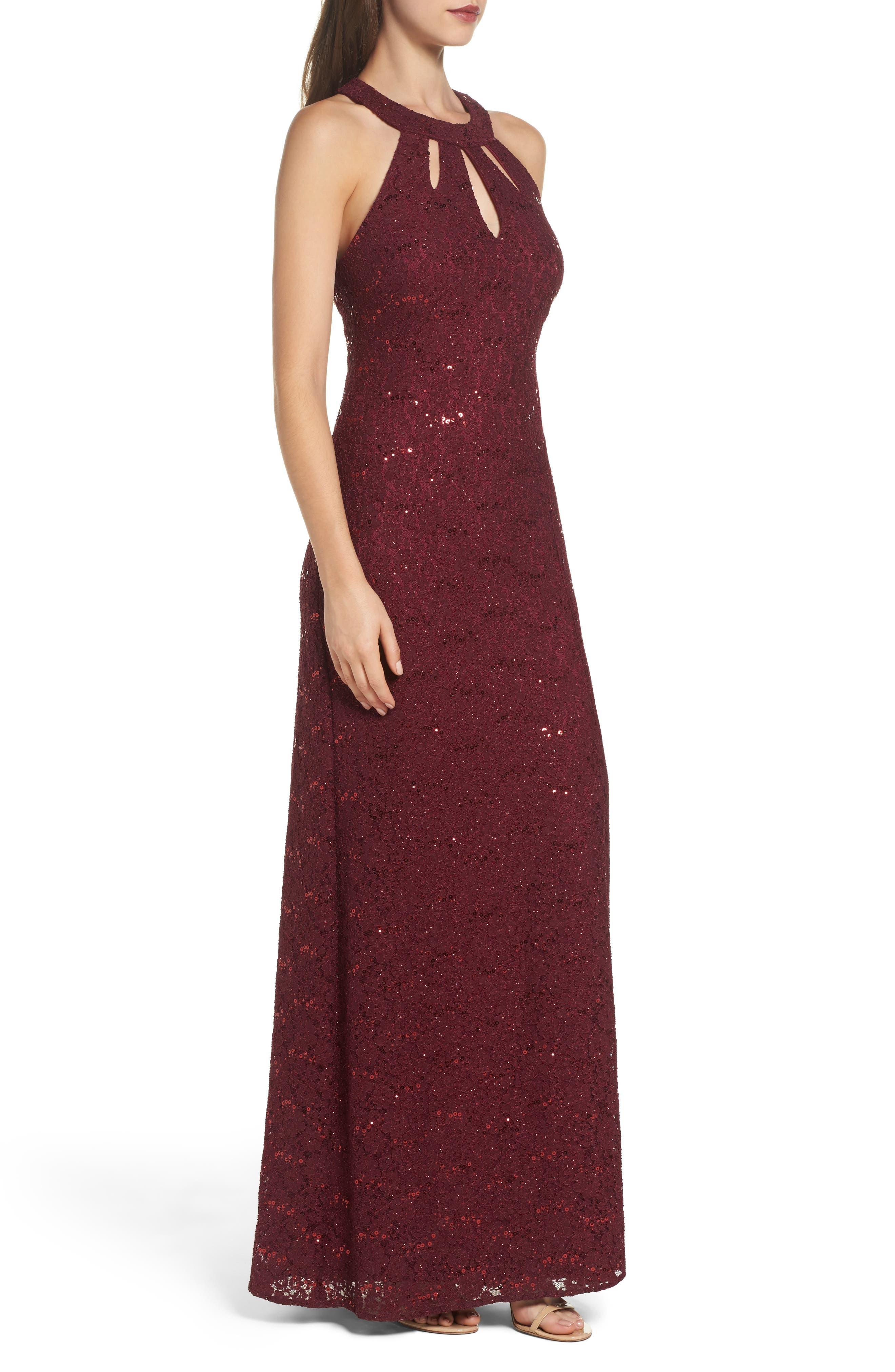 Keyhole Lace Column Gown,                             Alternate thumbnail 3, color,                             Merlot