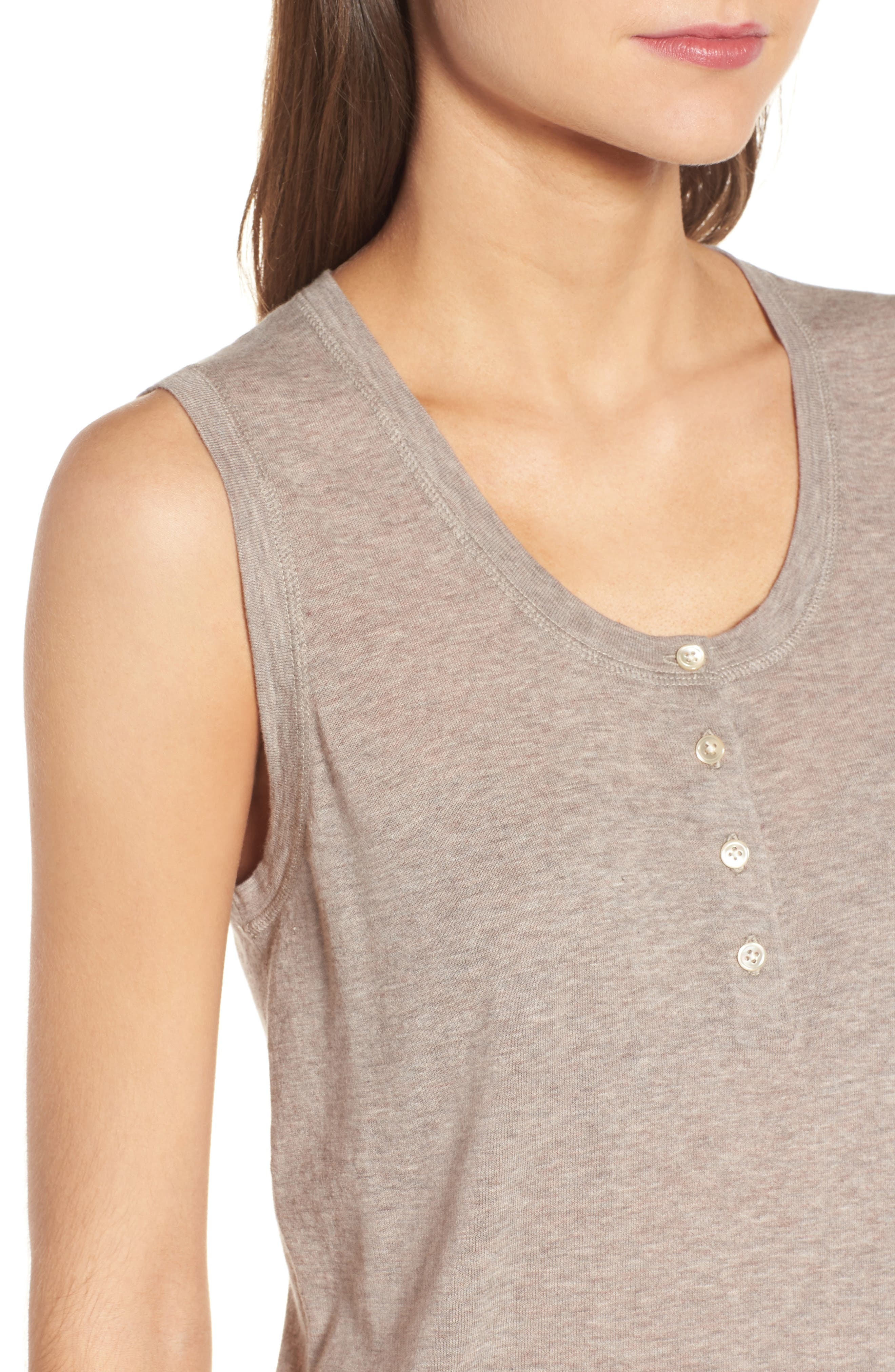 Henley Tank Sweater,                             Alternate thumbnail 4, color,                             Heather Taupe