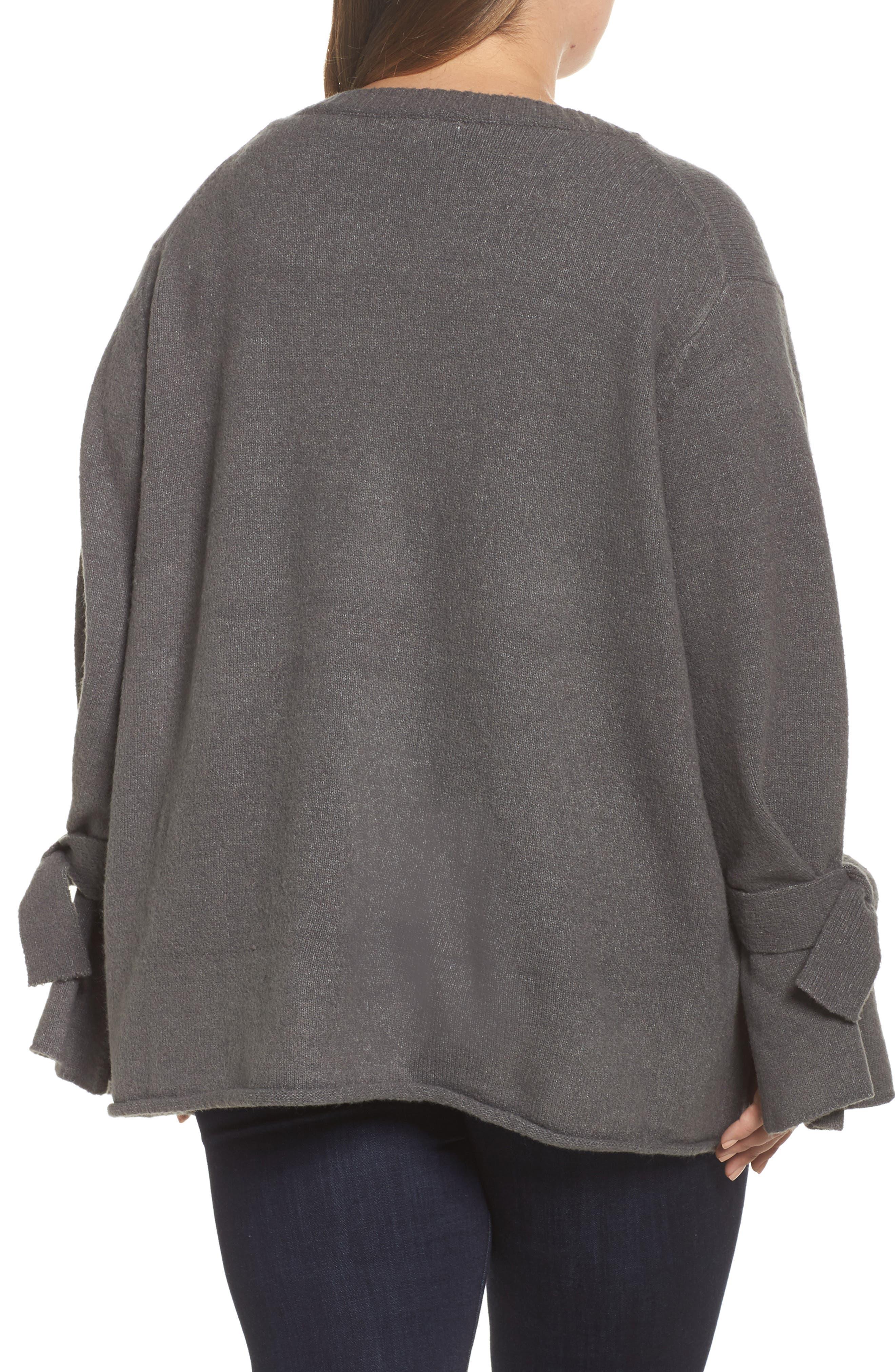 Alternate Image 2  - Glamorous Tie Sleeve Sweater (Plus Size)