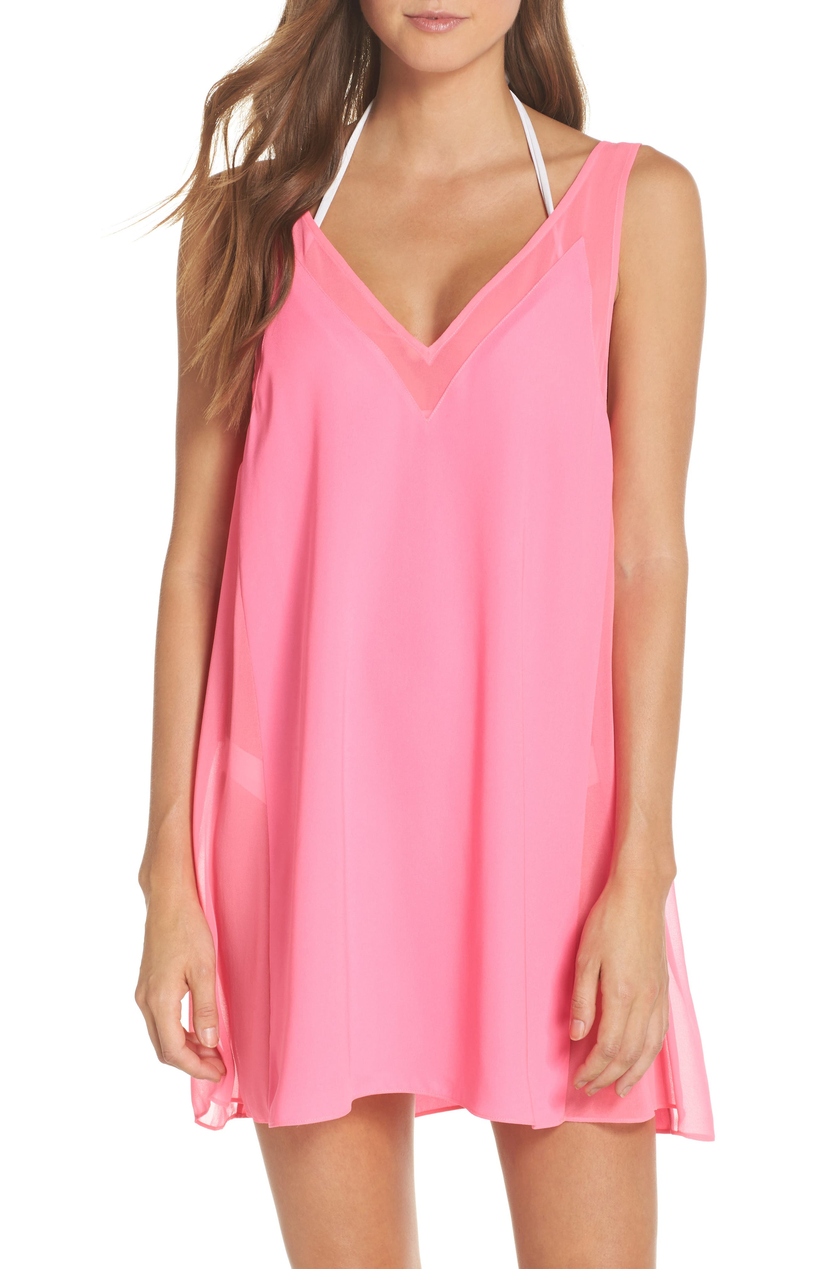 Mesh Panel Cover-Up Dress,                         Main,                         color, Fuchsia