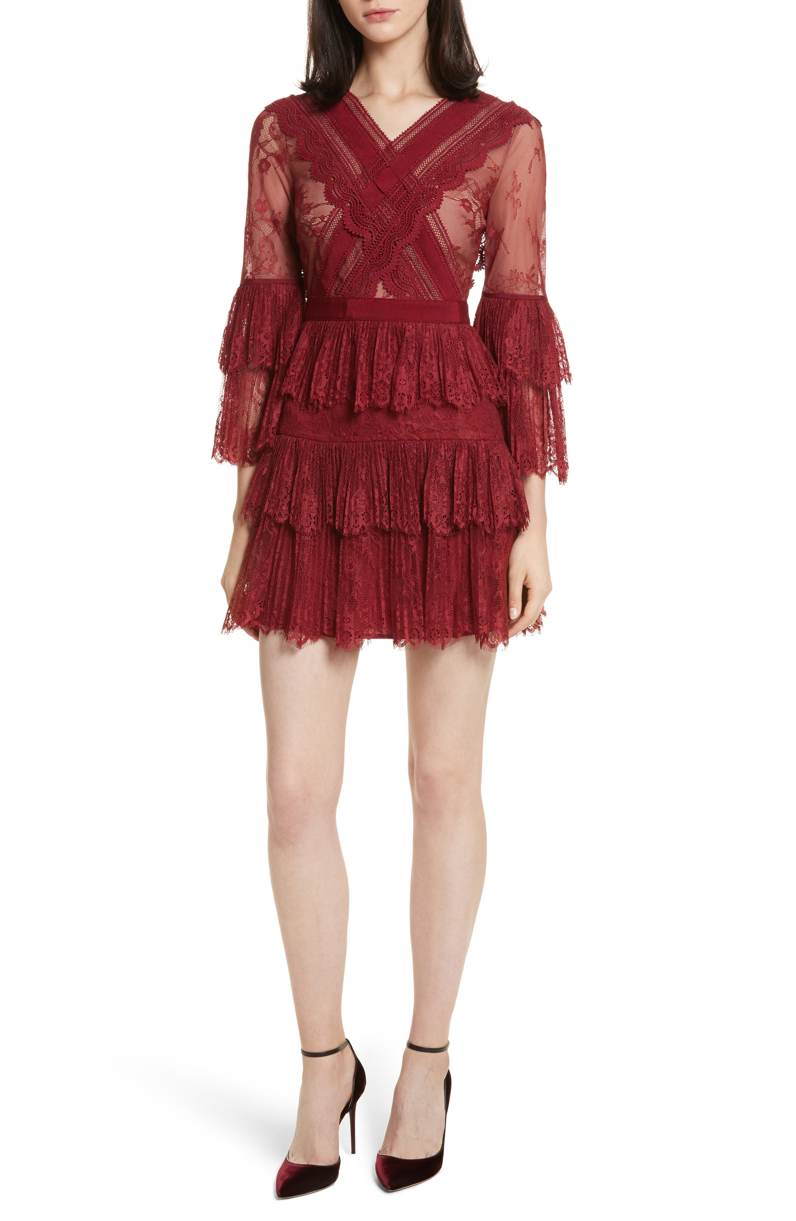 Self-Portrait Pleated Lace Dress
