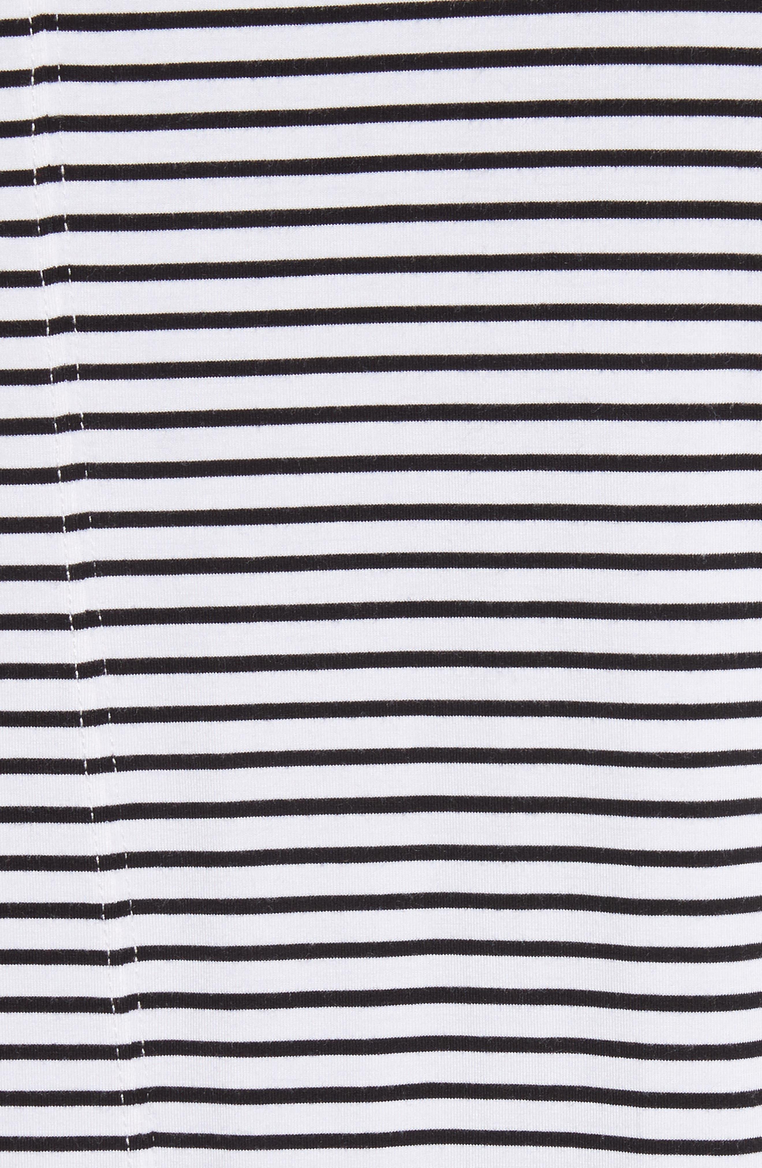 Raw Edge Stripe T-Shirt,                             Alternate thumbnail 5, color,                             Black/ White