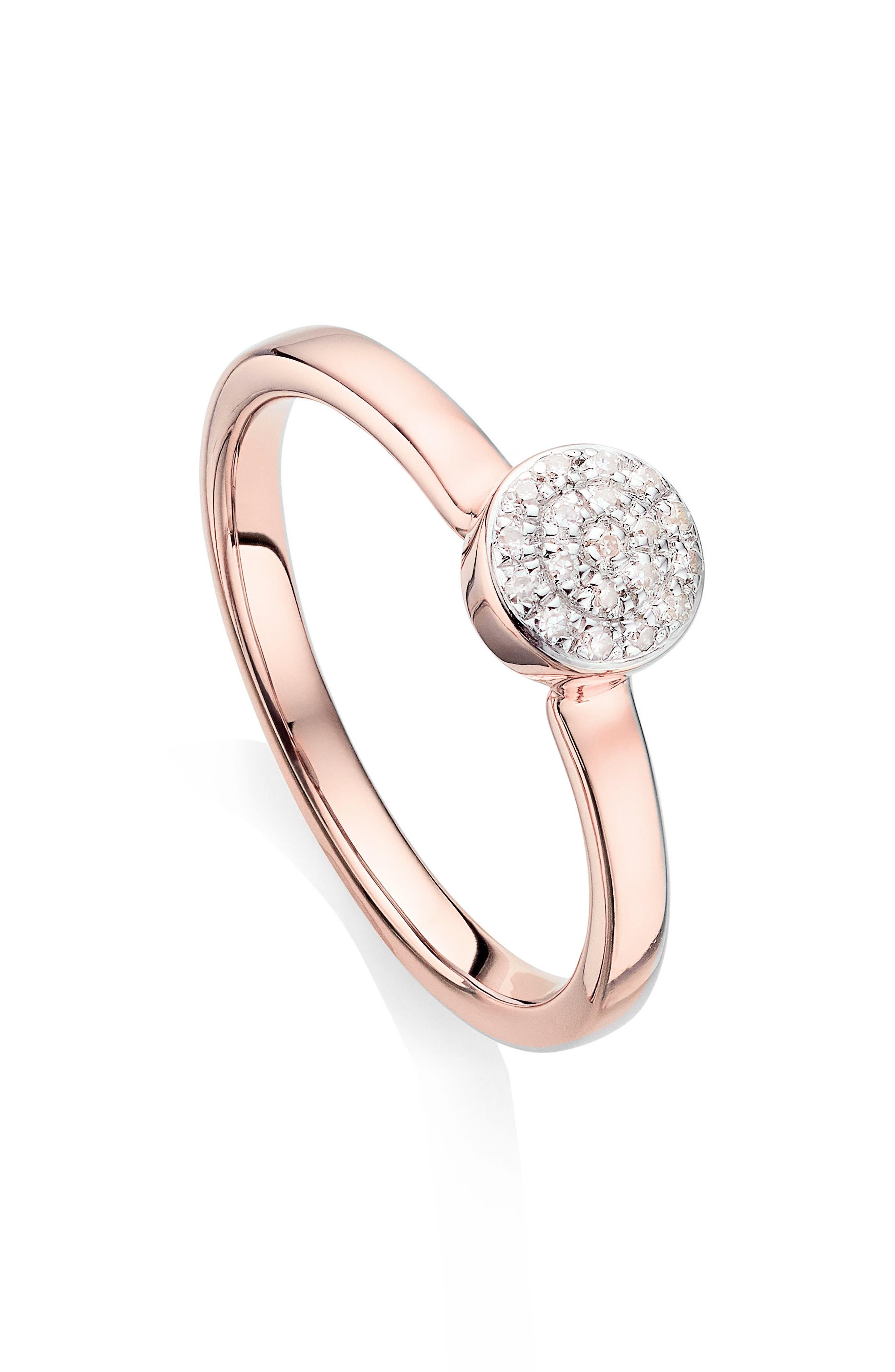 Alternate Image 1 Selected - Monica Vinader Fiji Mini Diamond Button Stack Ring
