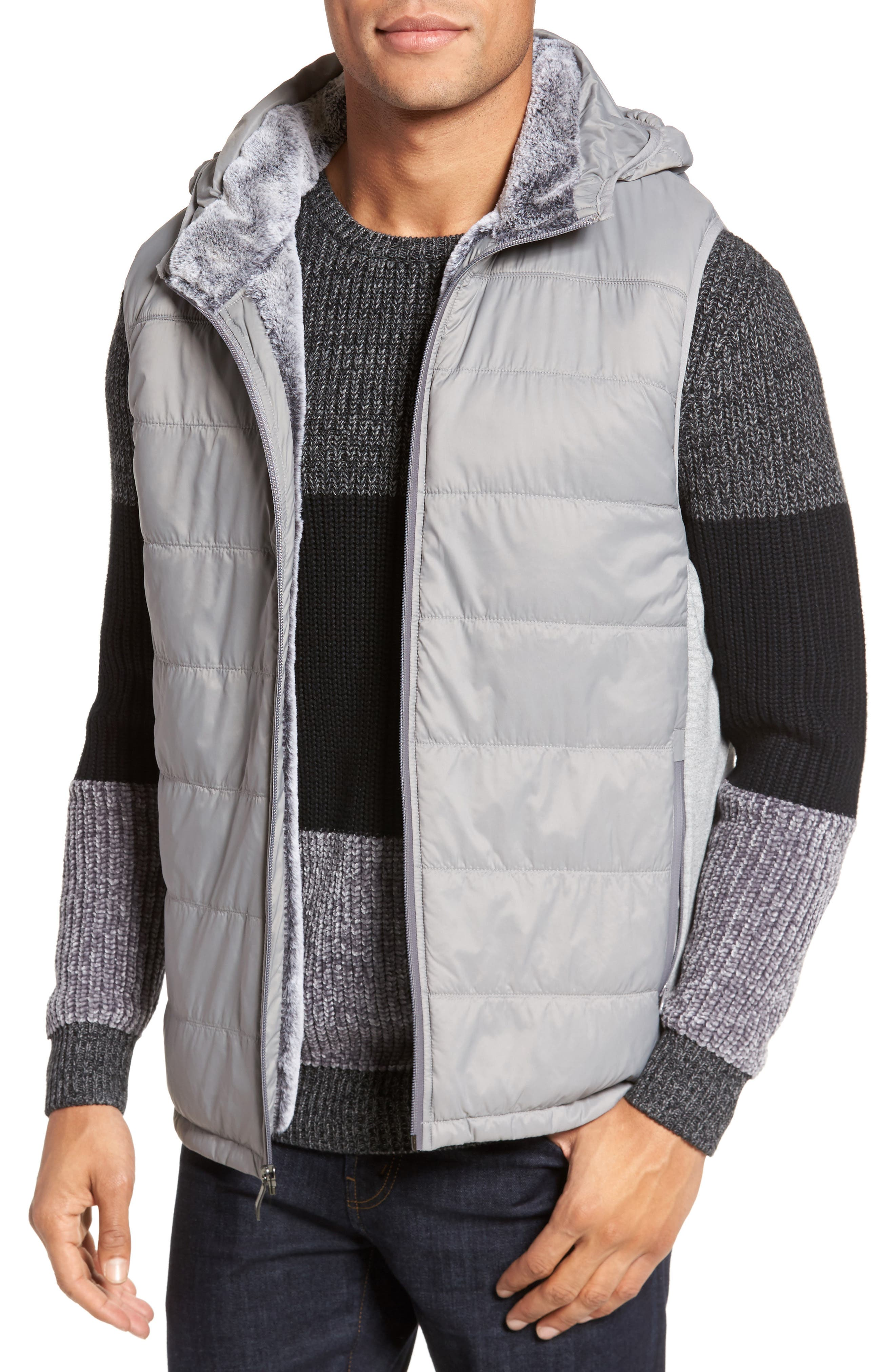 Hooded Vest,                         Main,                         color, Silver