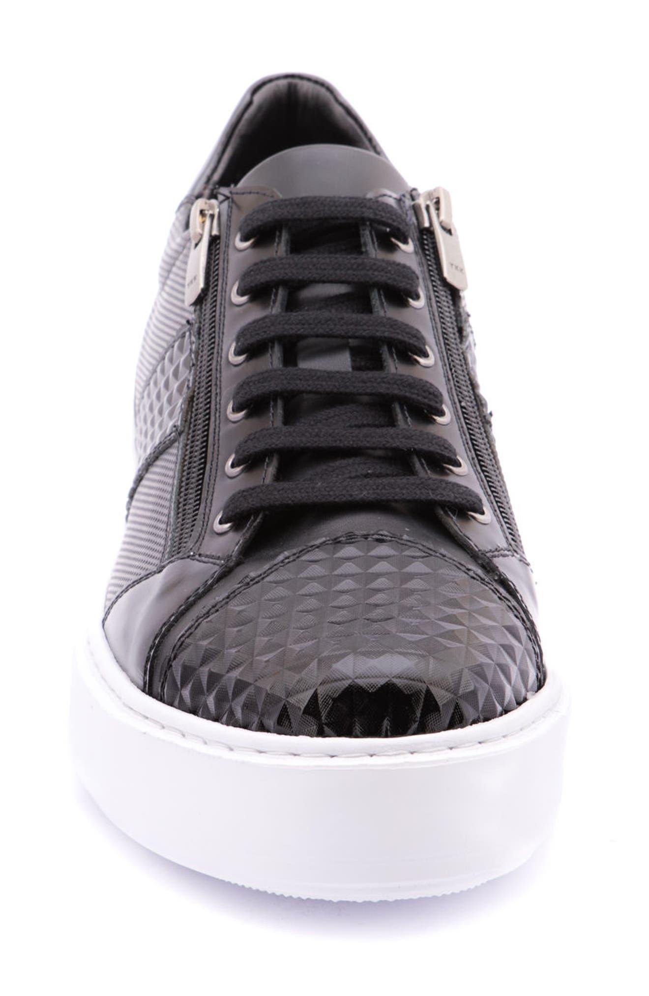 Justin Perforated Sneaker,                             Alternate thumbnail 4, color,                             Black