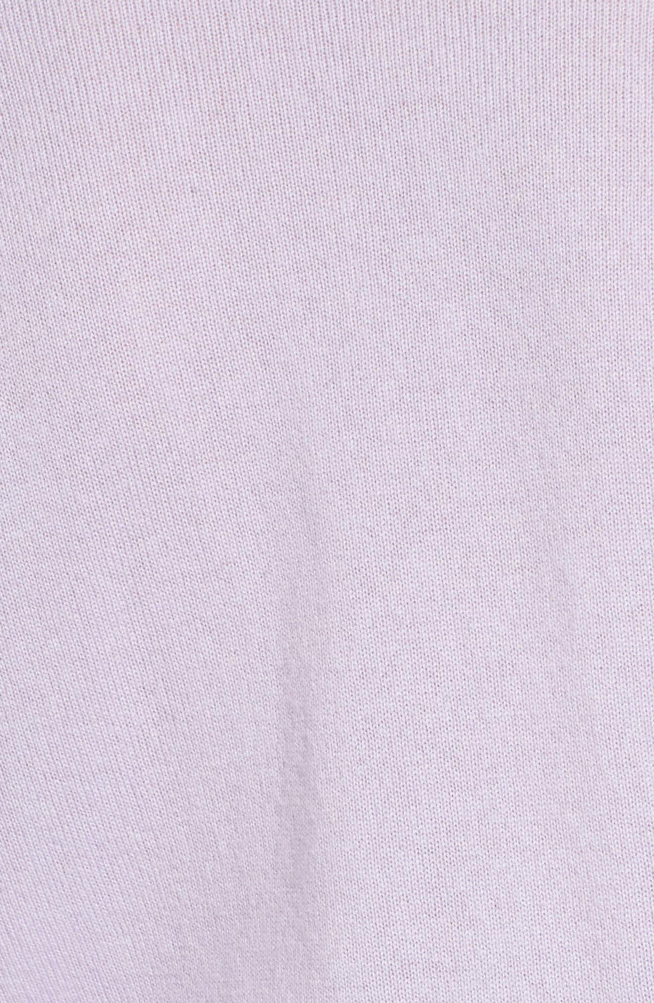 Ruffle Sleeve Cashmere Sweater,                             Alternate thumbnail 5, color,                             Purple Thistle