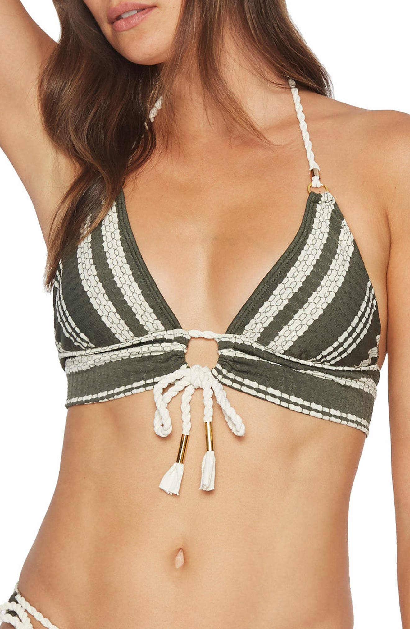 Livvy Halter Bikini Top,                         Main,                         color, Deep Forest