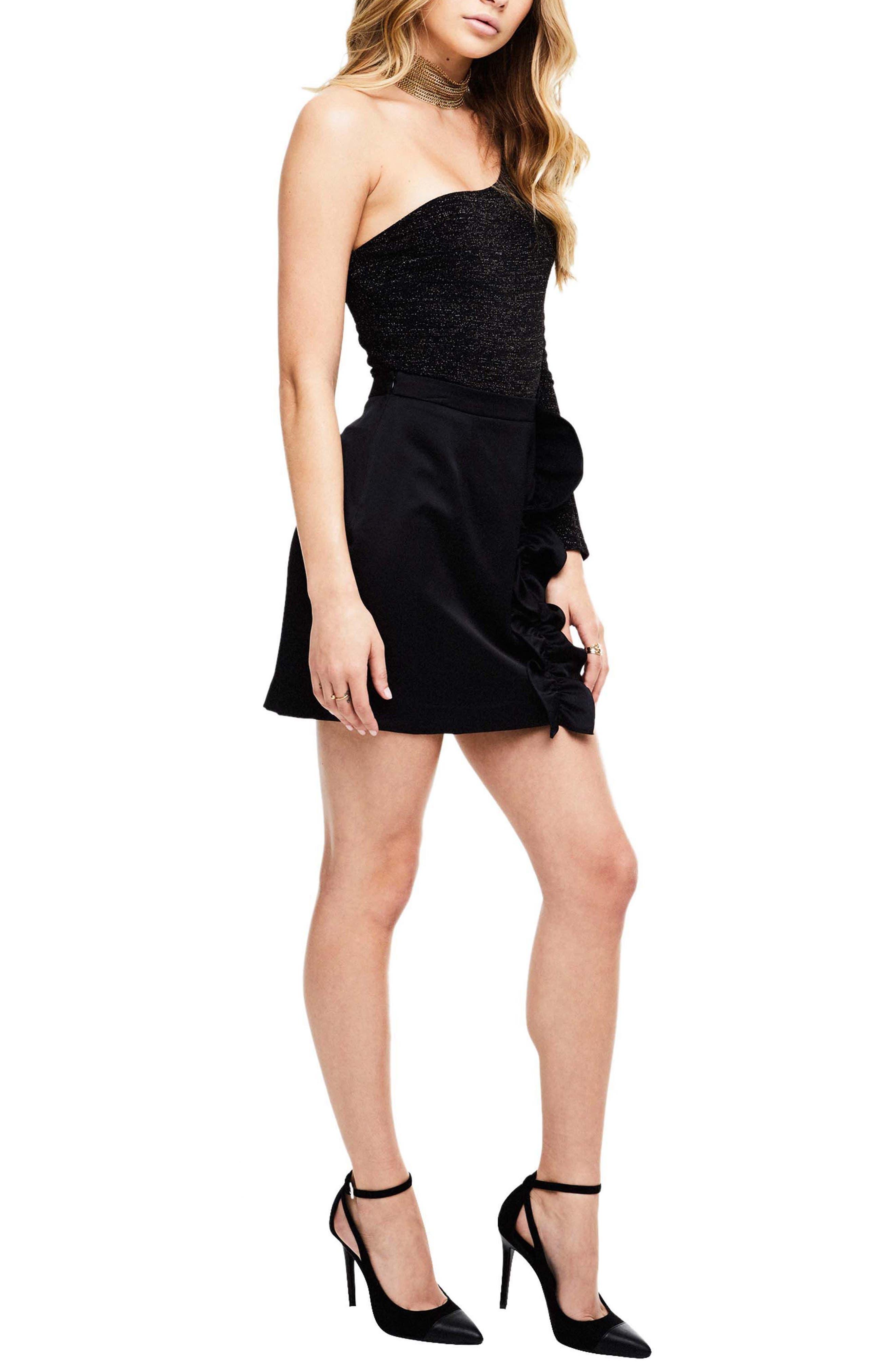 Isa Satin Skirt,                             Alternate thumbnail 3, color,                             Black