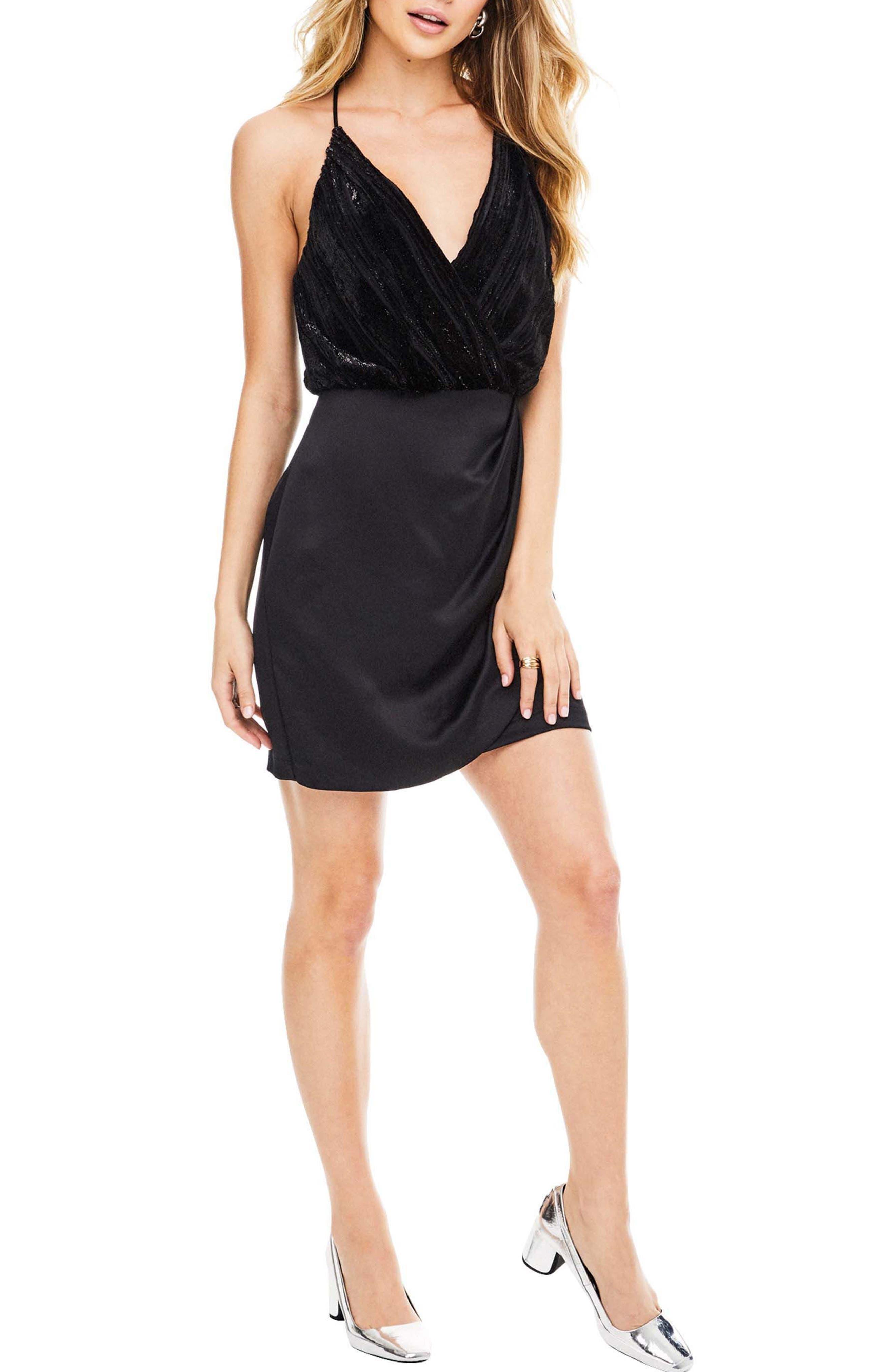 Callie Dress,                         Main,                         color, Black Velvet Stripe