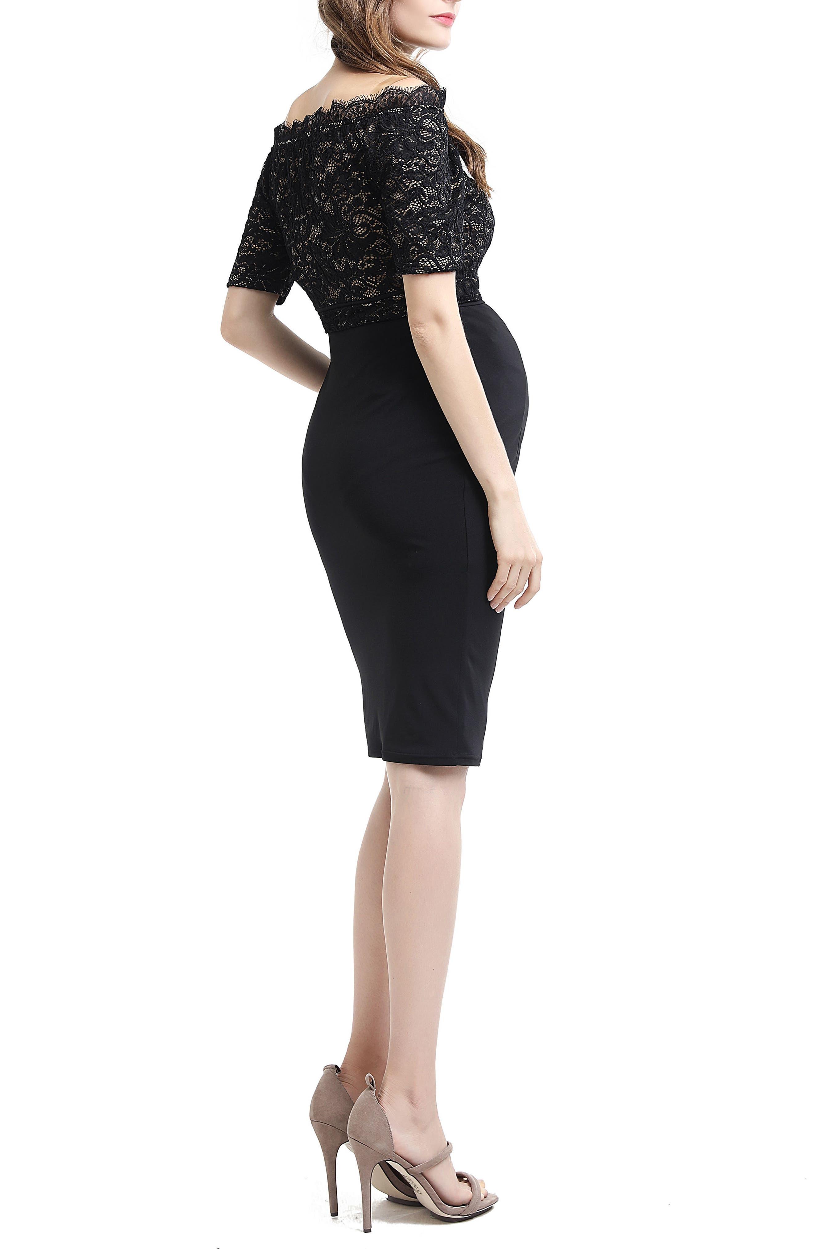 Madeline Off the Shoulder Maternity Dress,                             Alternate thumbnail 3, color,                             Black