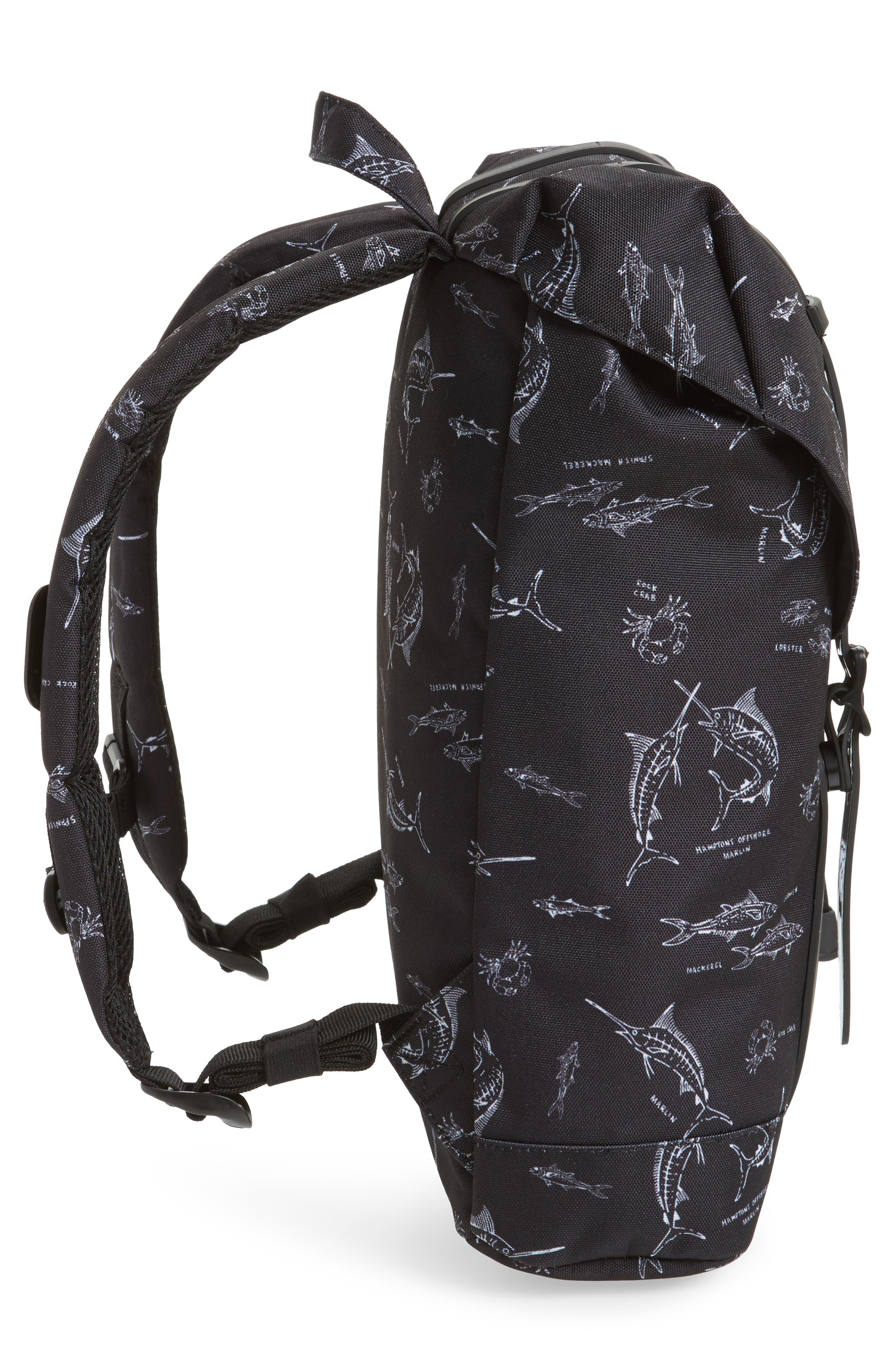Retreat Fish Print Backpack,                             Alternate thumbnail 3, color,                             Saltwater/ Black Rubber