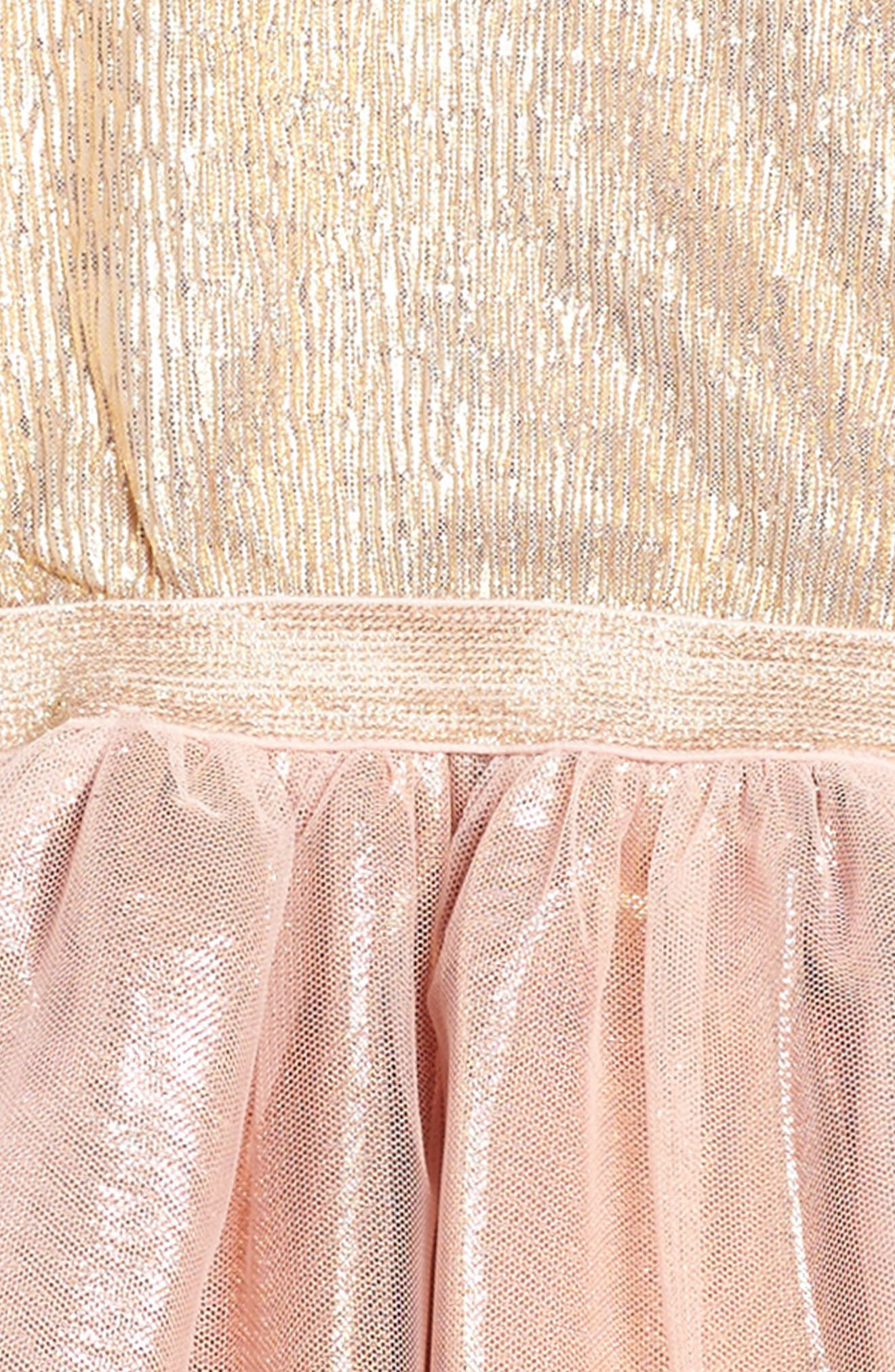 Alternate Image 3  - Zunie Metallic Shimmer Mock Neck Dress (Big Girls)
