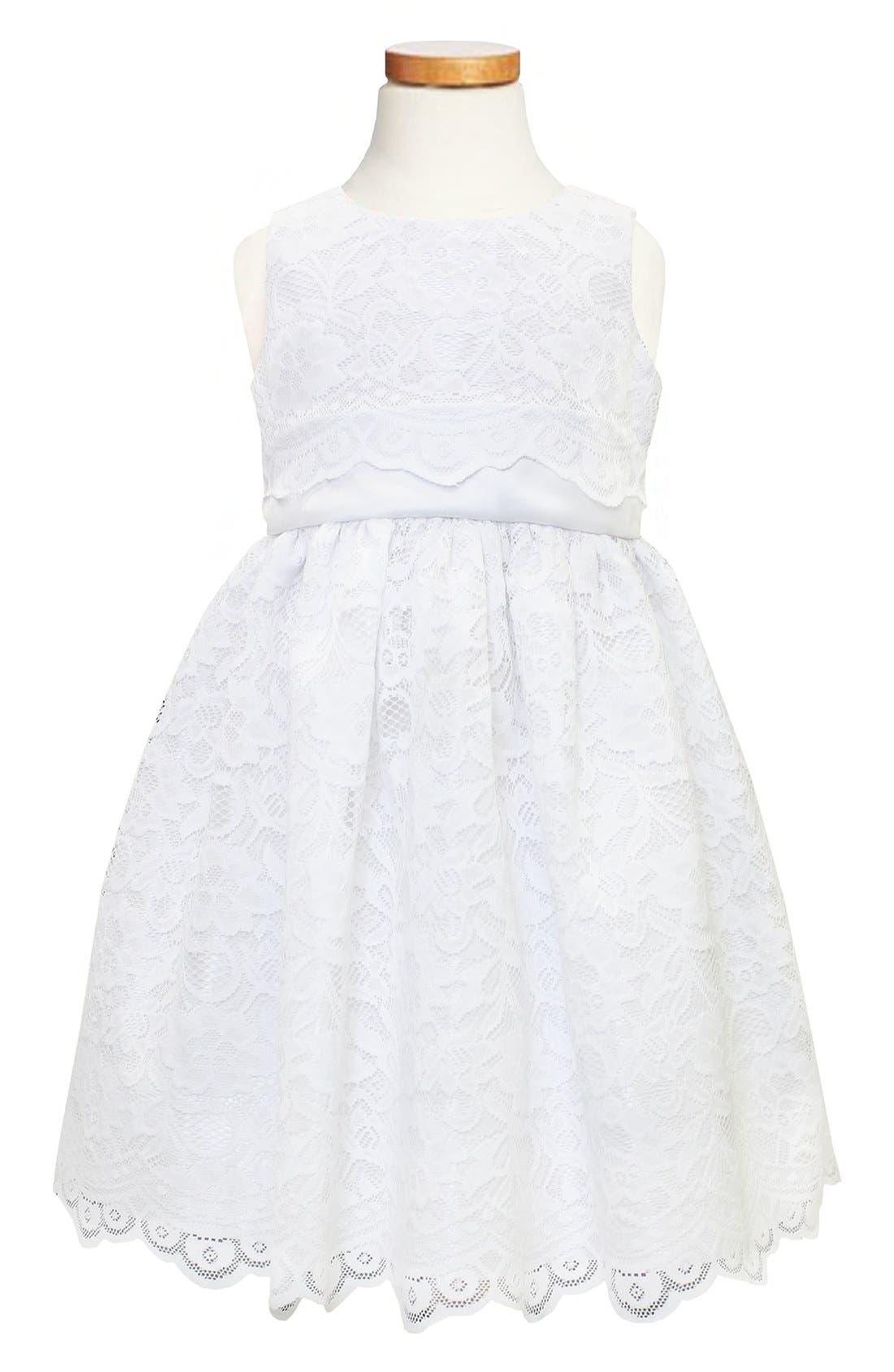 Scallop Lace Dress,                         Main,                         color, White