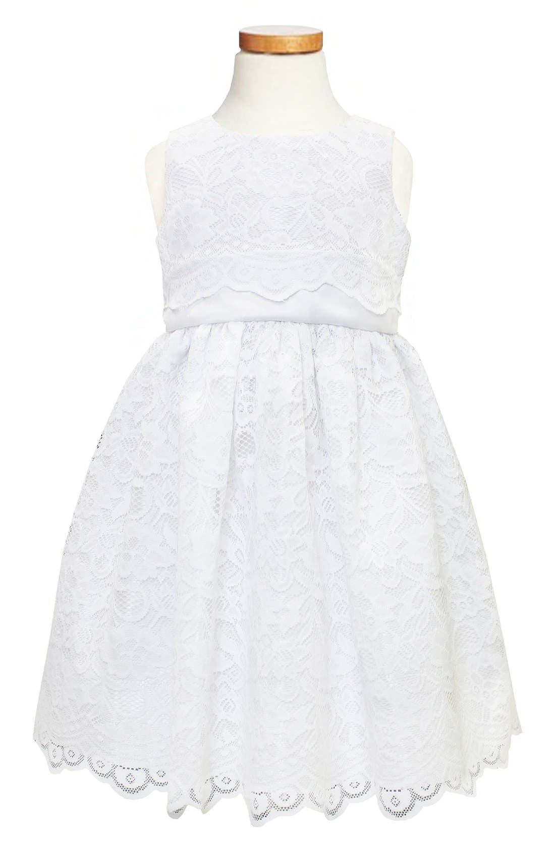 Scallop Lace Dress,                         Main,                         color, White