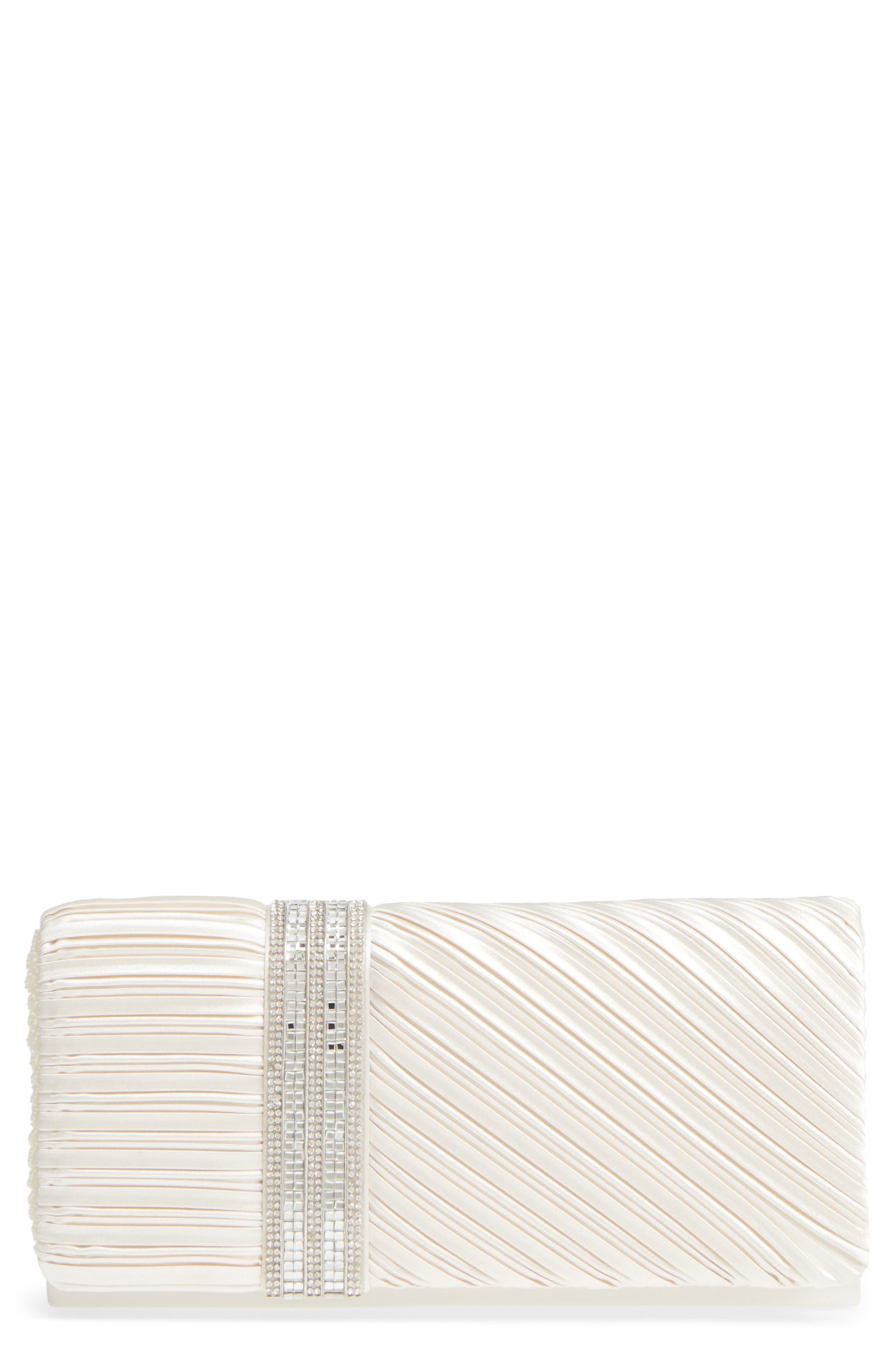 Daylie Pleated Satin Clutch,                             Main thumbnail 1, color,                             Ivory