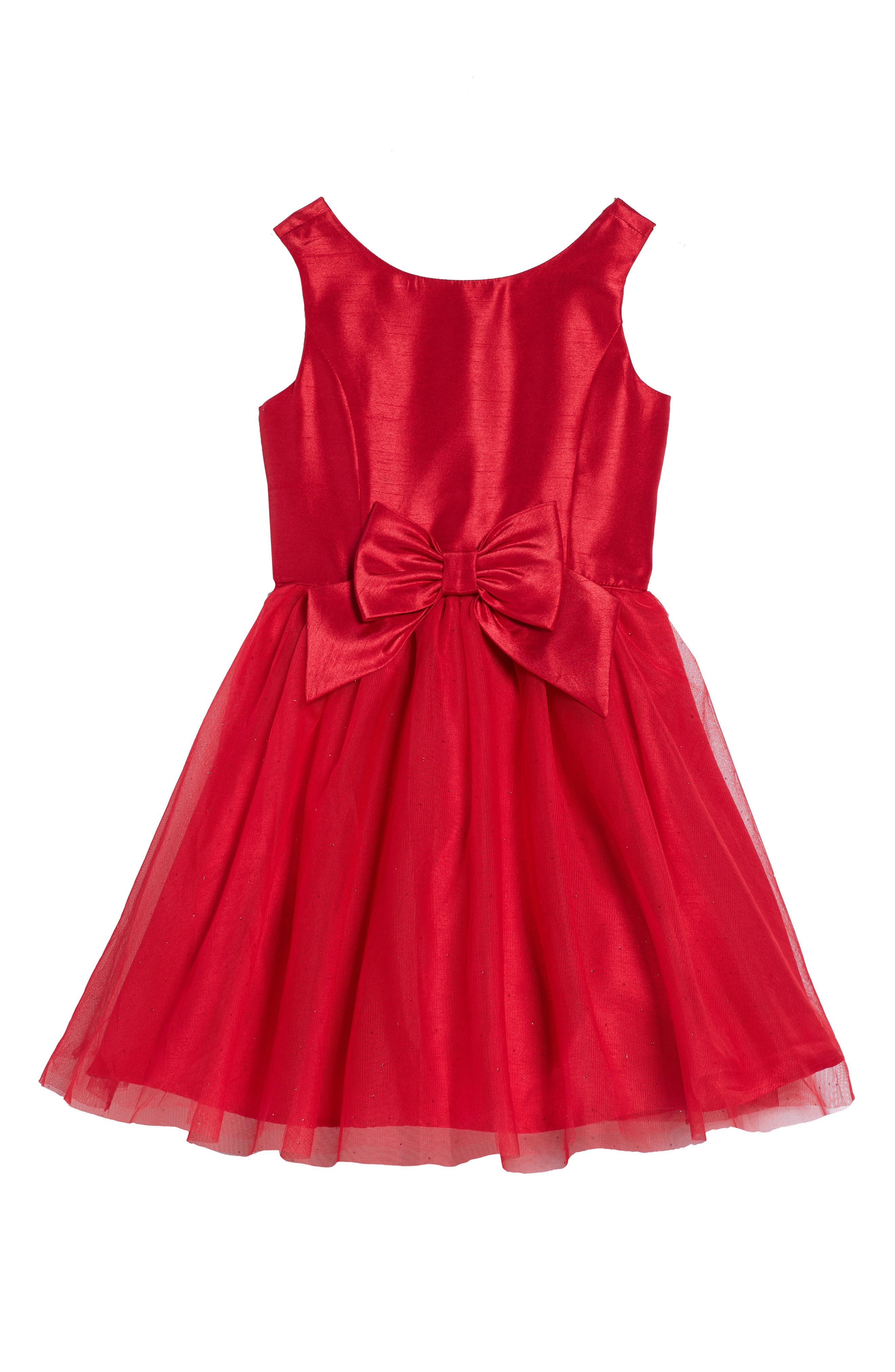 Zunie Shantung & Tulle Dress (Toddler Girls, Little Girls & Big Girls)